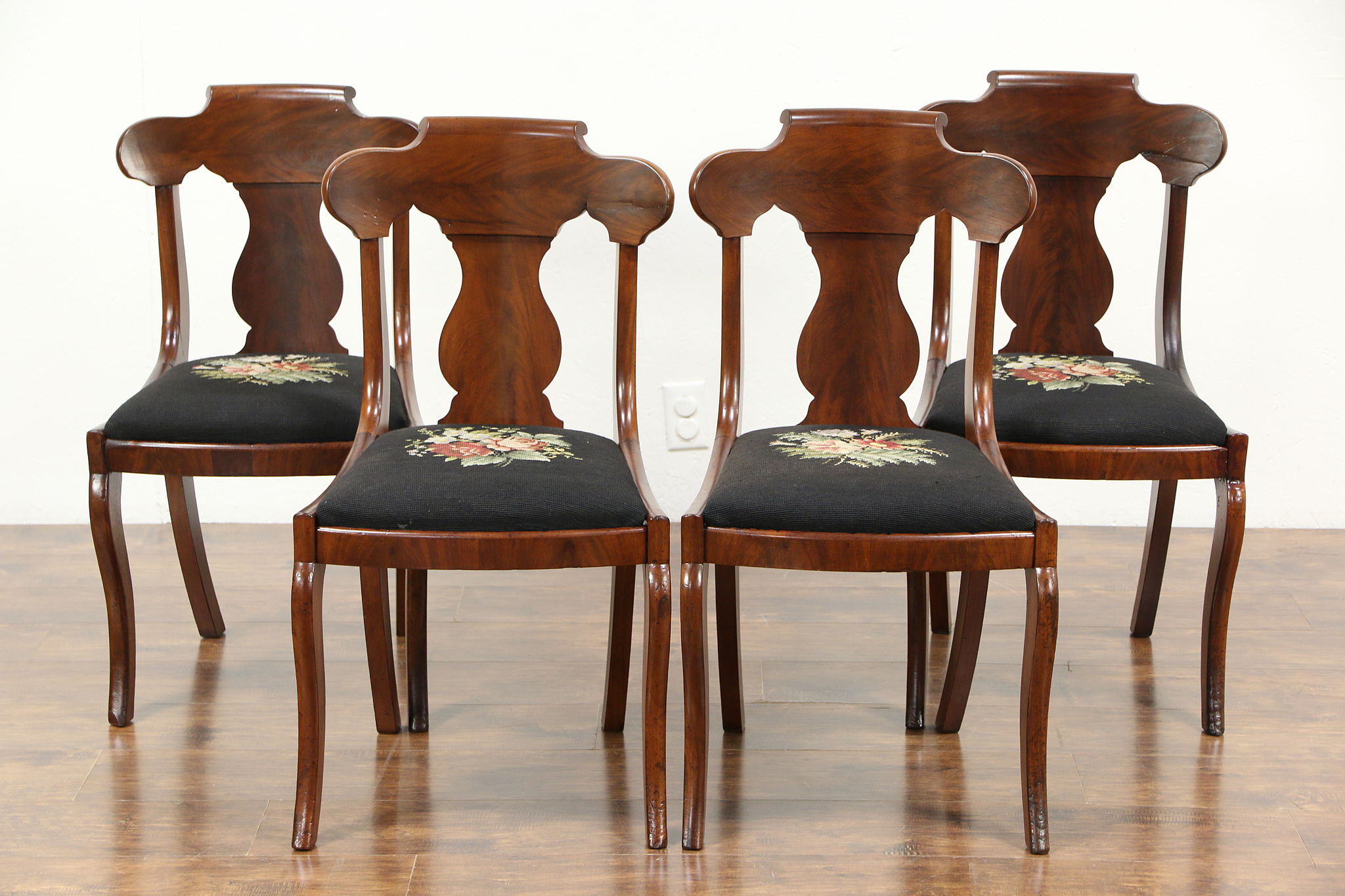 SOLD Set of 4 Empire 1830 s Antique Dining or Game Table Chairs