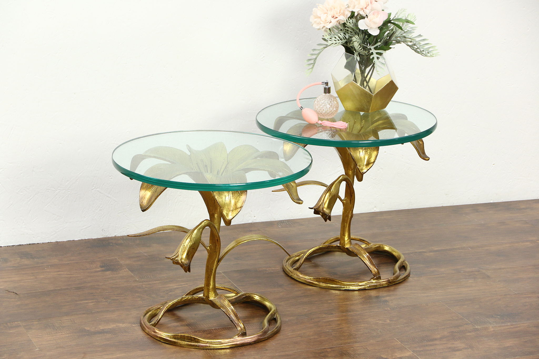 SOLD Arthur Court Lilly Table Pair Gilded Hollywood Regency