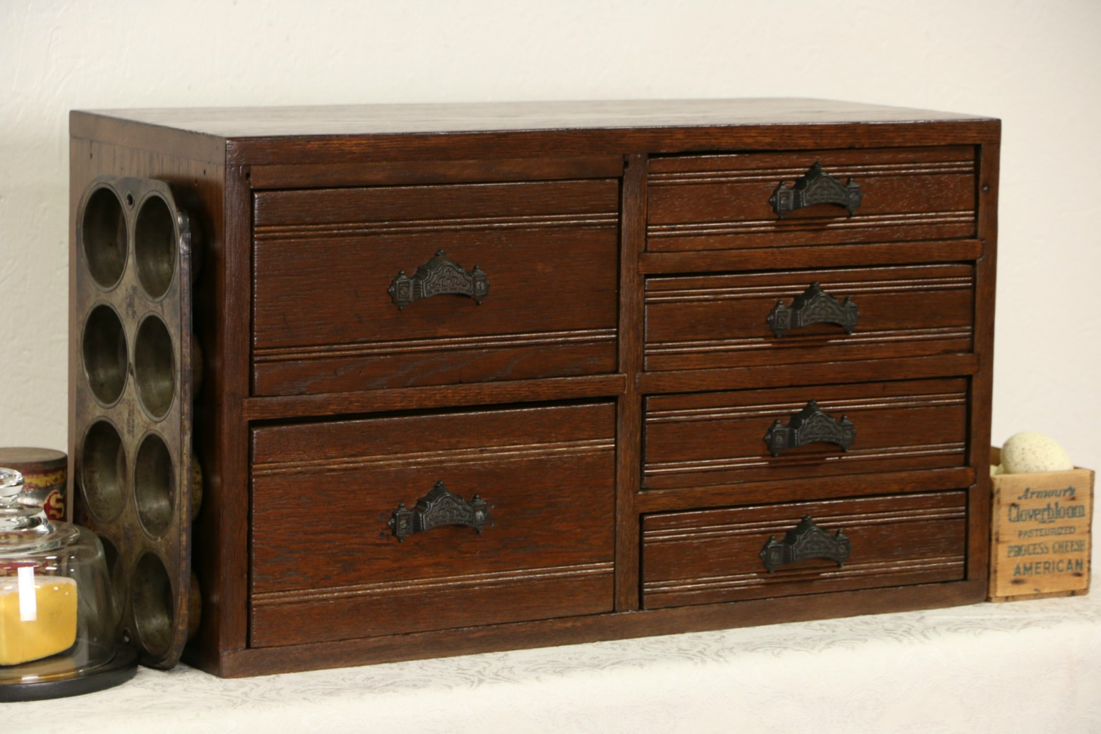 Sold Oak 1890 Antique Desktop File Collector Or Jewelry Cabinet 6 Drawers Harp