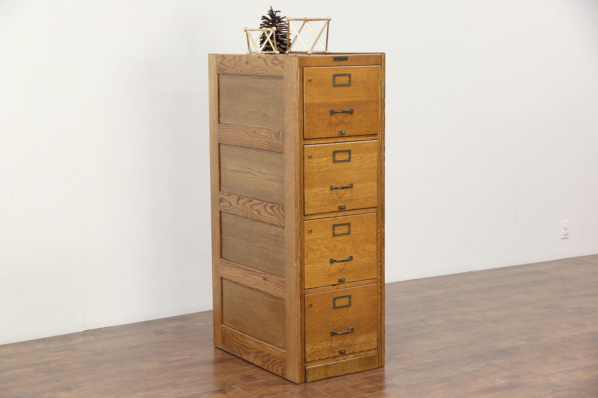 Attrayant Oak 1920 Antique 4 Drawer File Cabinet, Signed Browne Morse