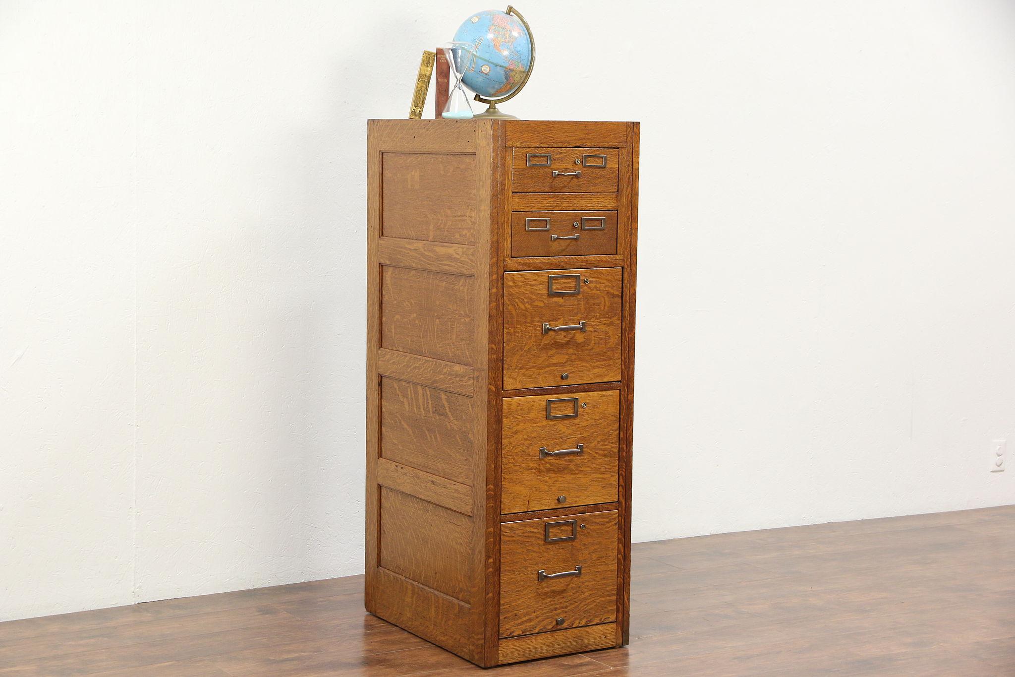 Oak 1930u0027s 5 Drawer Filing Cabinet, Letter U0026 3x5 Card Sizes ...