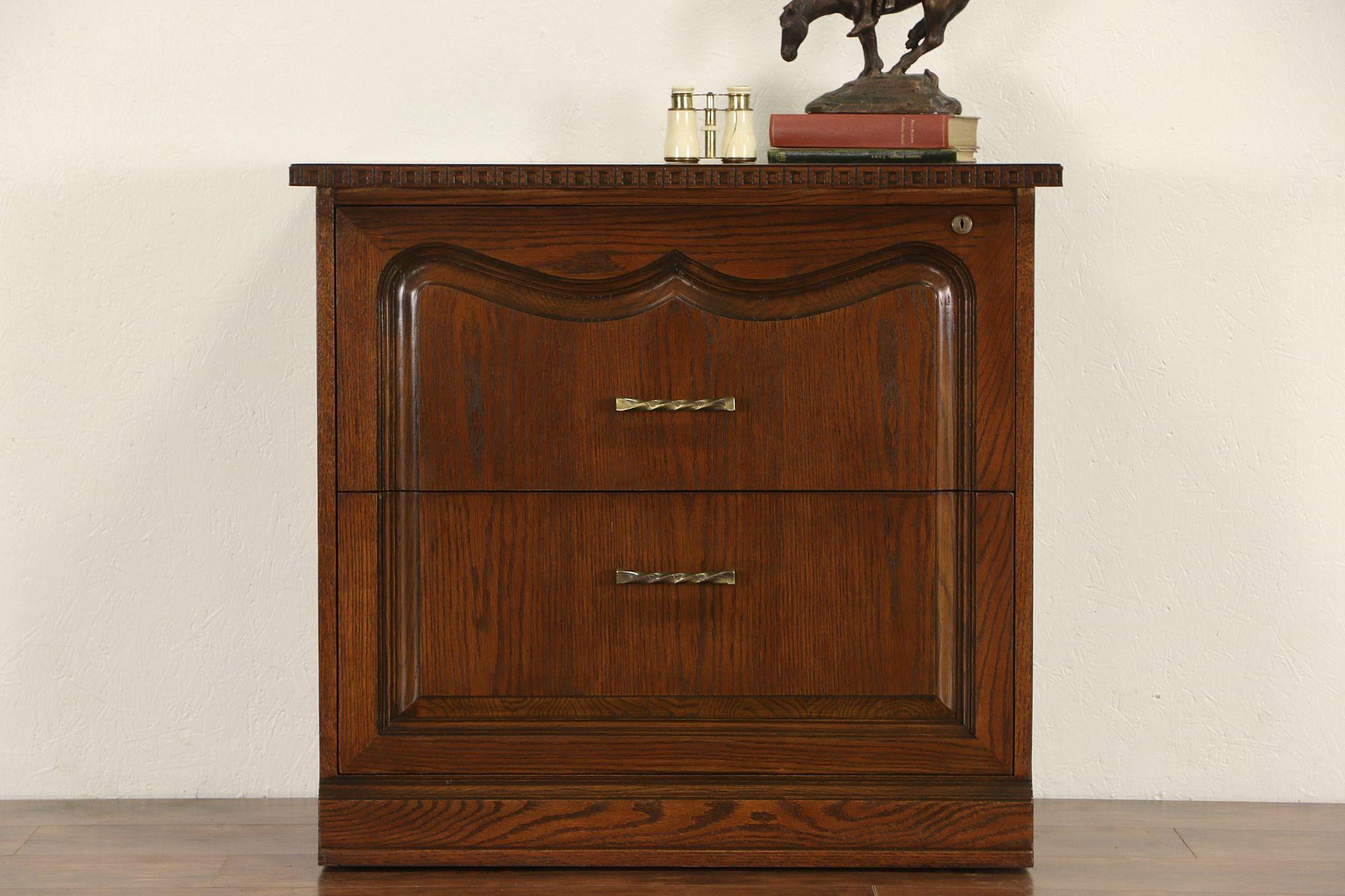 Romweber 1960u0027s Vintage Signed Carved Oak Lateral File Cabinet