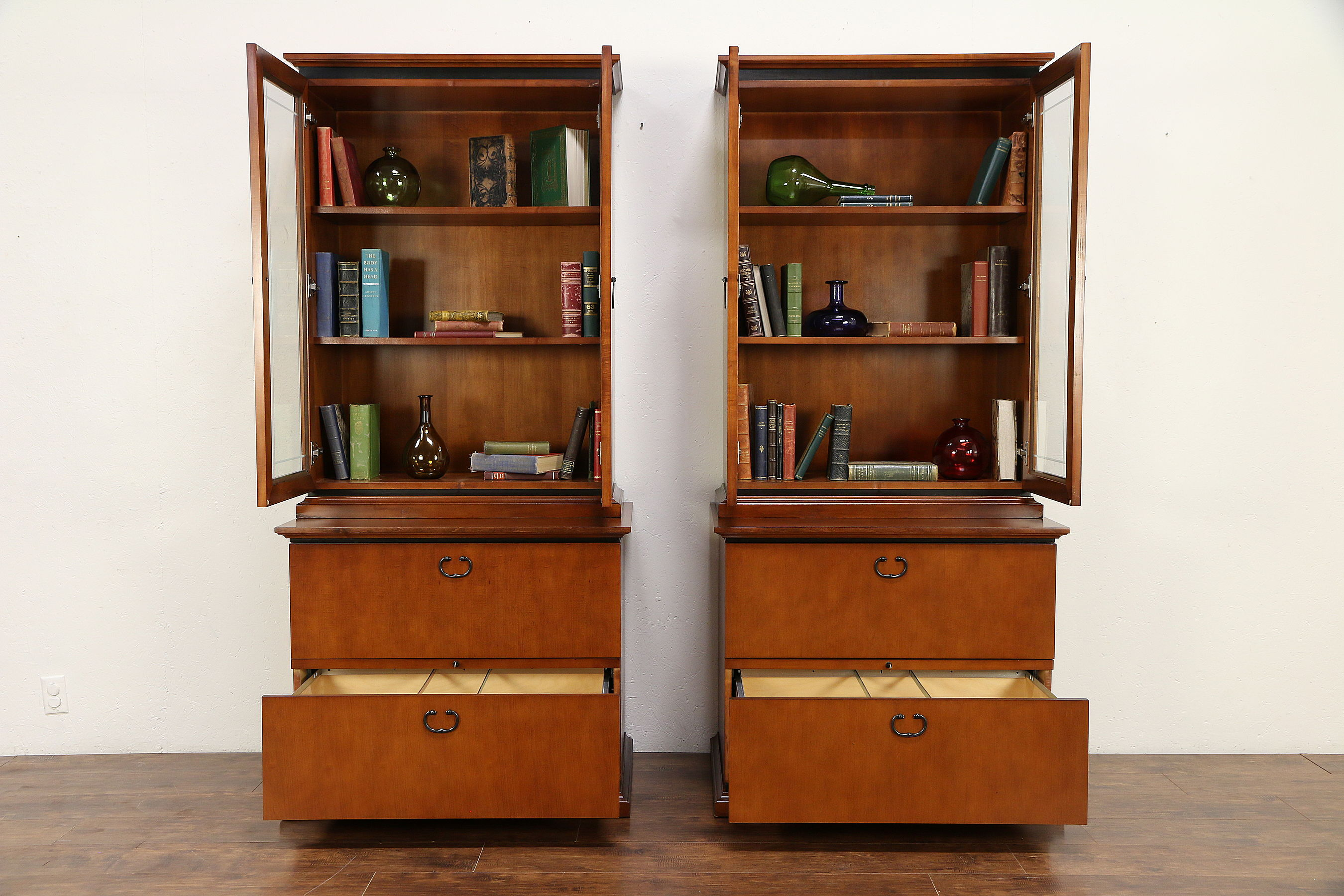 Cherry Vintage Library Or Office Lateral File Bookcase Paoli B 30601