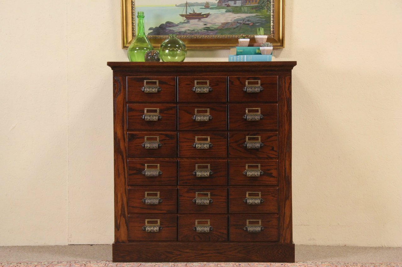 Sold Oak Antique 18 Drawer File Cabinet Circa 1890