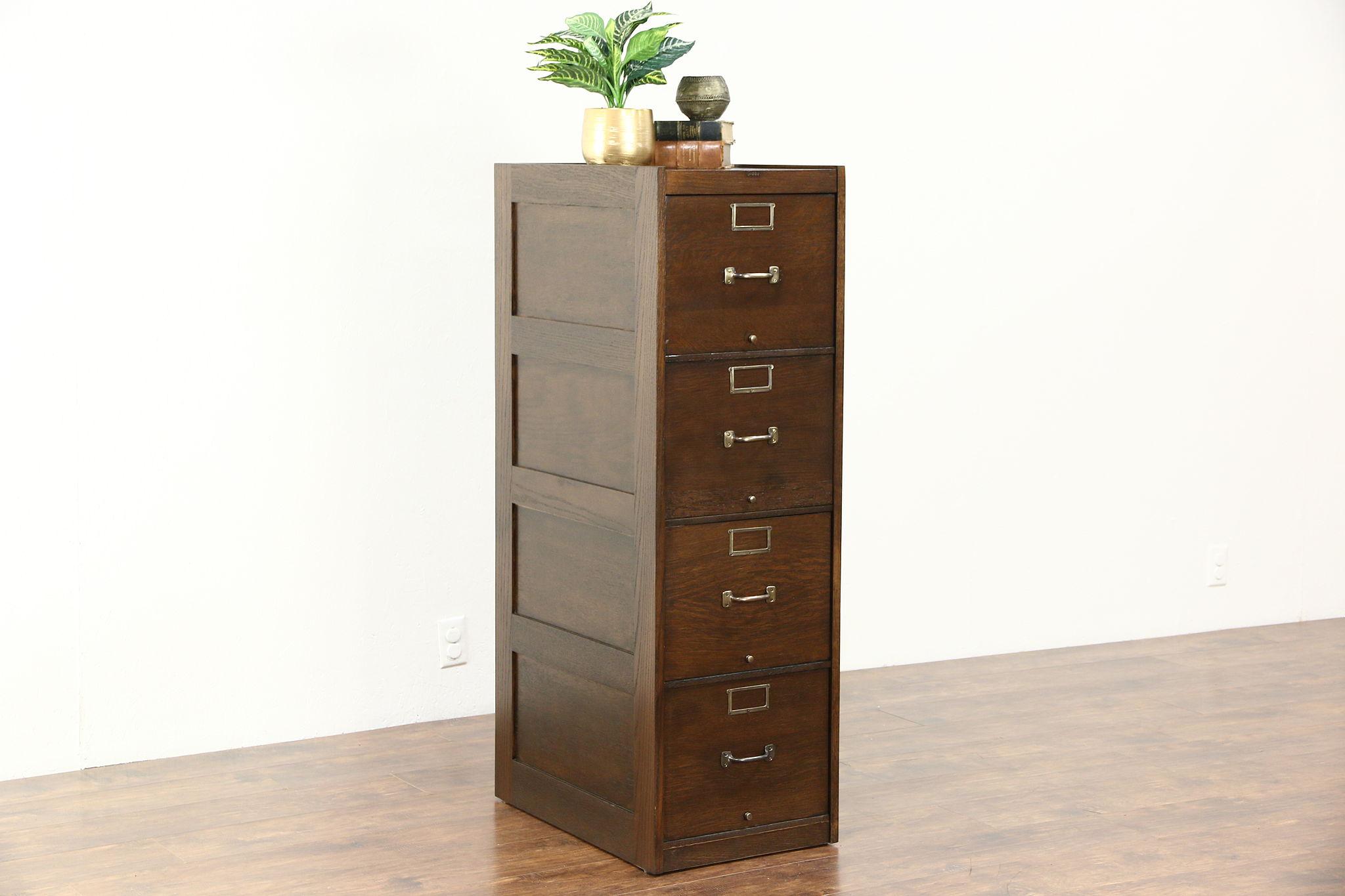 Globe Signed 4 Drawer Quarter Sawn Oak 1920 Antique File Cabinet ...