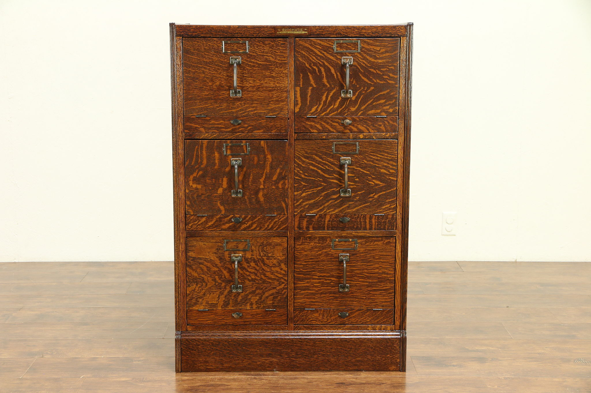 Oak Antique 6 Drawer File Cabinet Signed Automatic Of Green Bay Wi 30714