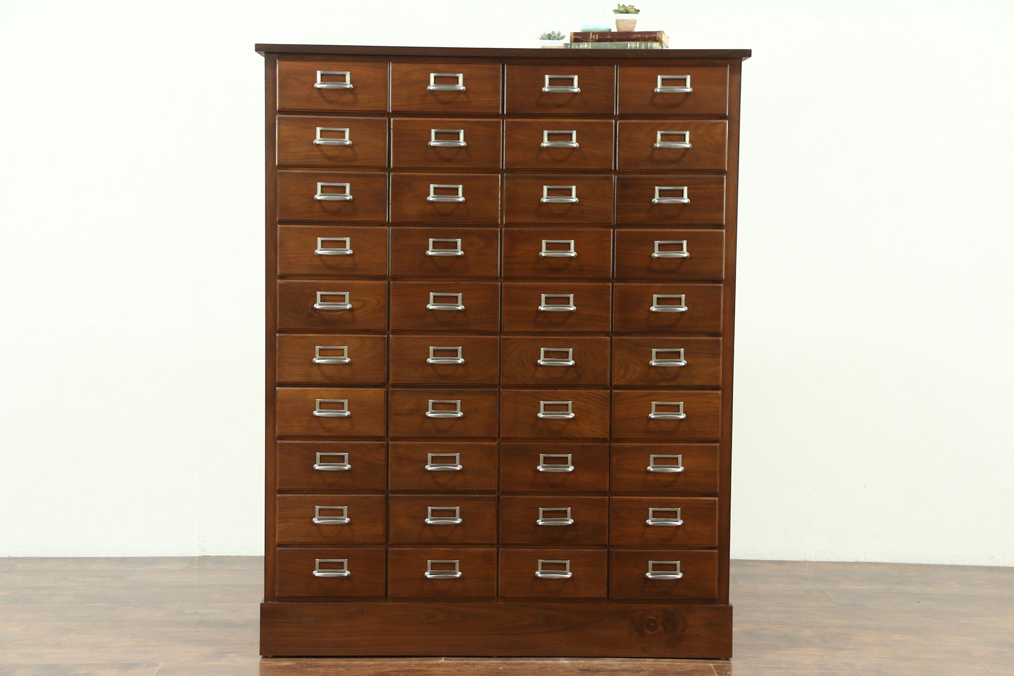 Walnut Antique 40 Drawer Library Or Office File Cabinet, Original Nickel  Pulls