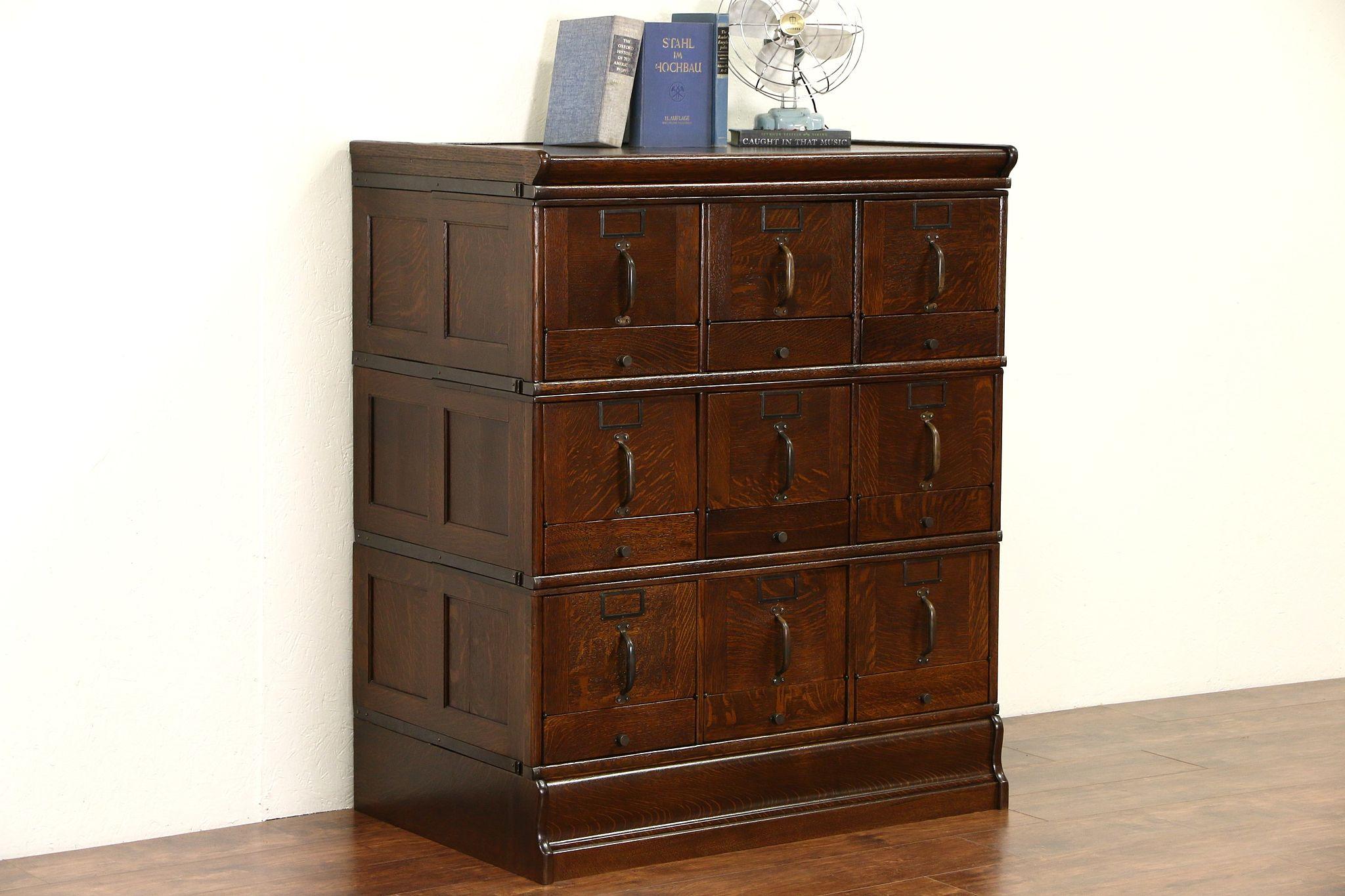 Sold Stacking 9 Drawer 1900 Antique Oak File Cabinet