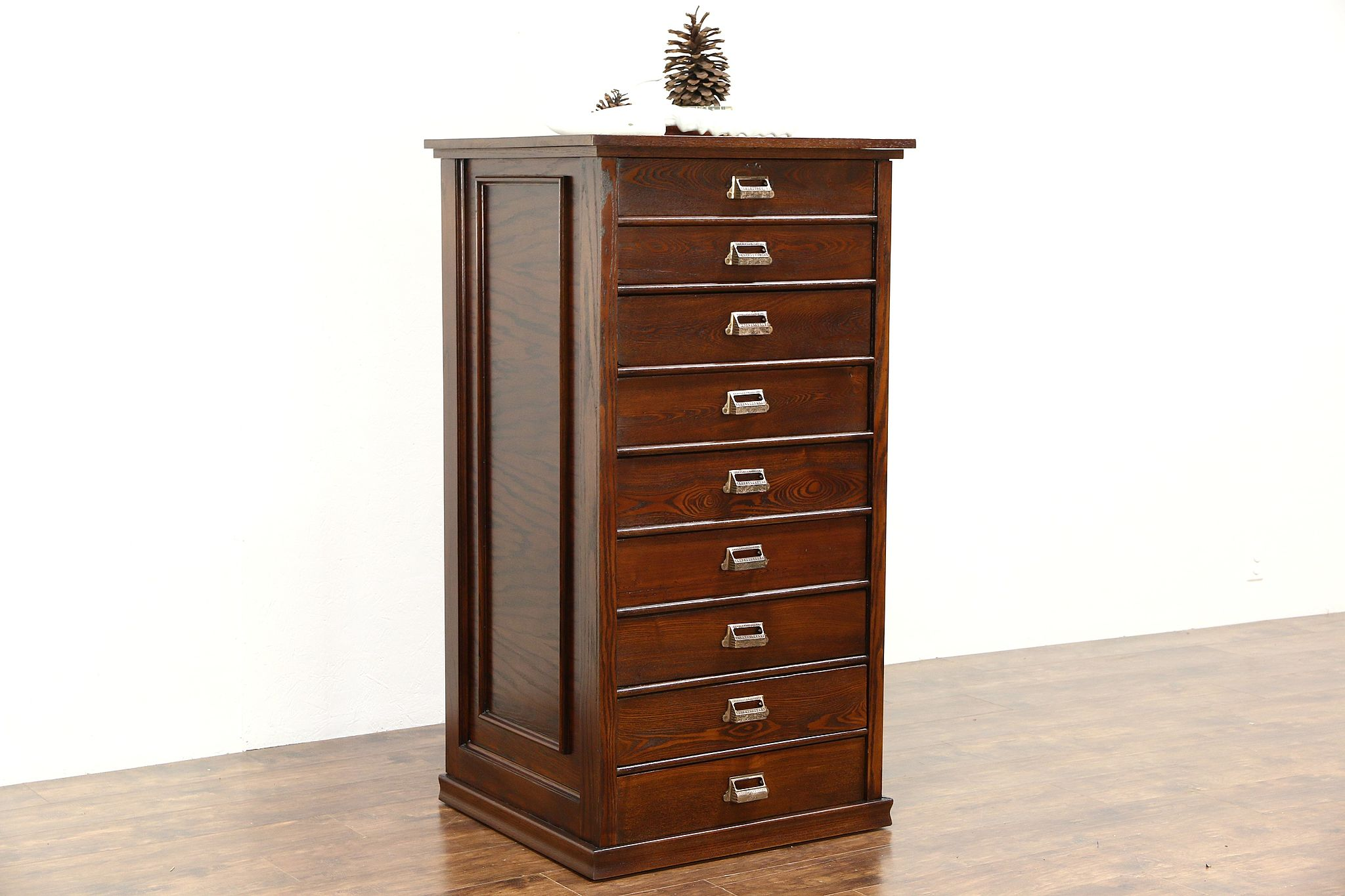 Oak 1900 Antique Map Chest Or 9 Drawer Printer File Or Collector Cabinet
