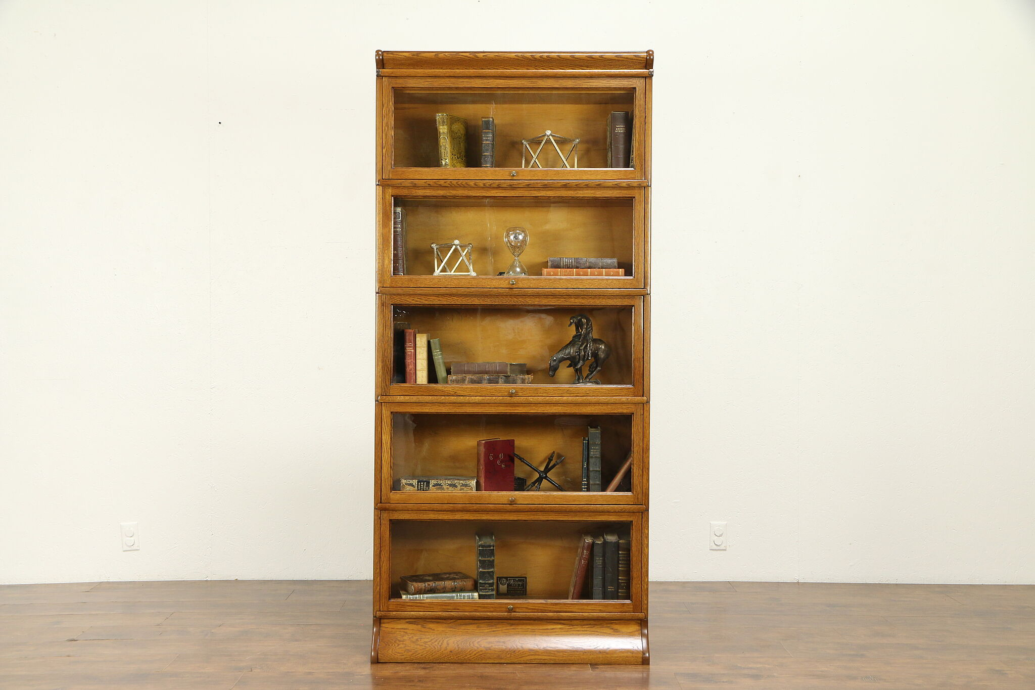 Oak Lawyer 5 Stack Antique Bookcase Large Sections Signed Viking 31519