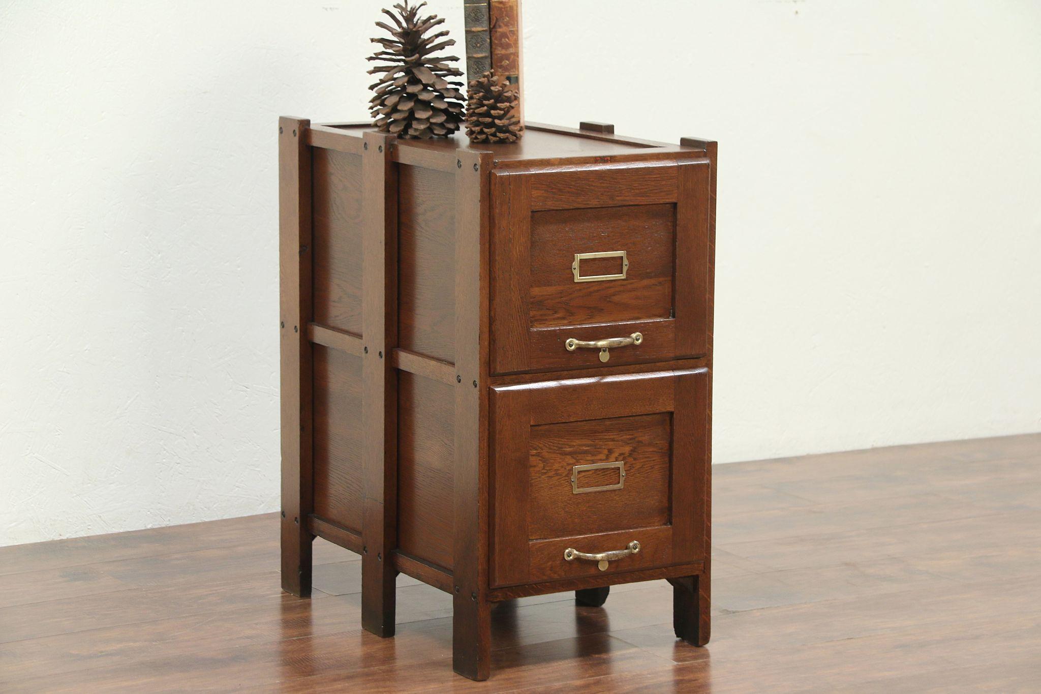 Sold Arts Crafts Antique Oak 2 Drawer File Or Craftsman Filing Cabinet Harp Gallery Antiques Furniture