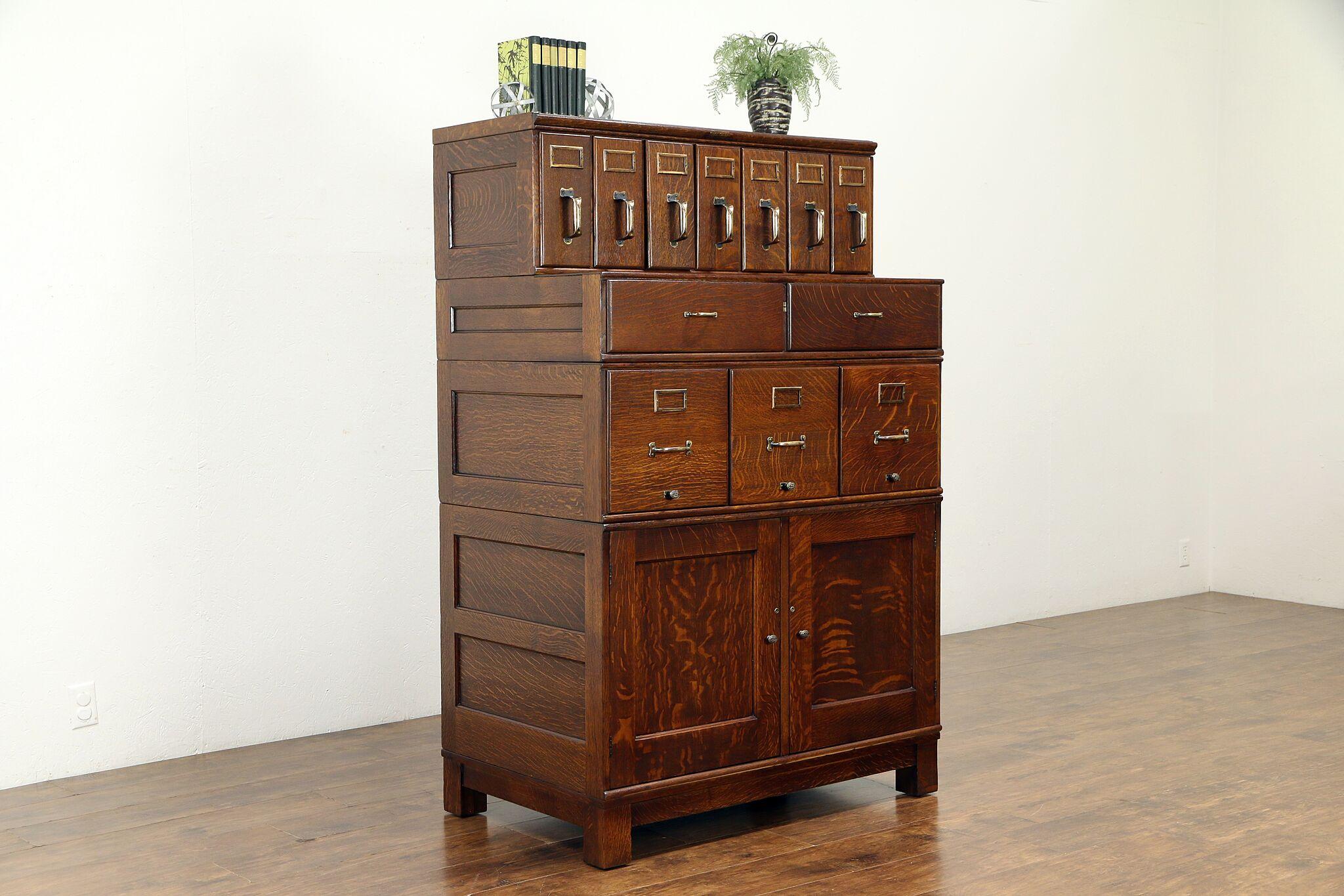 Antique Stacking 12 Drawer File Cabinet