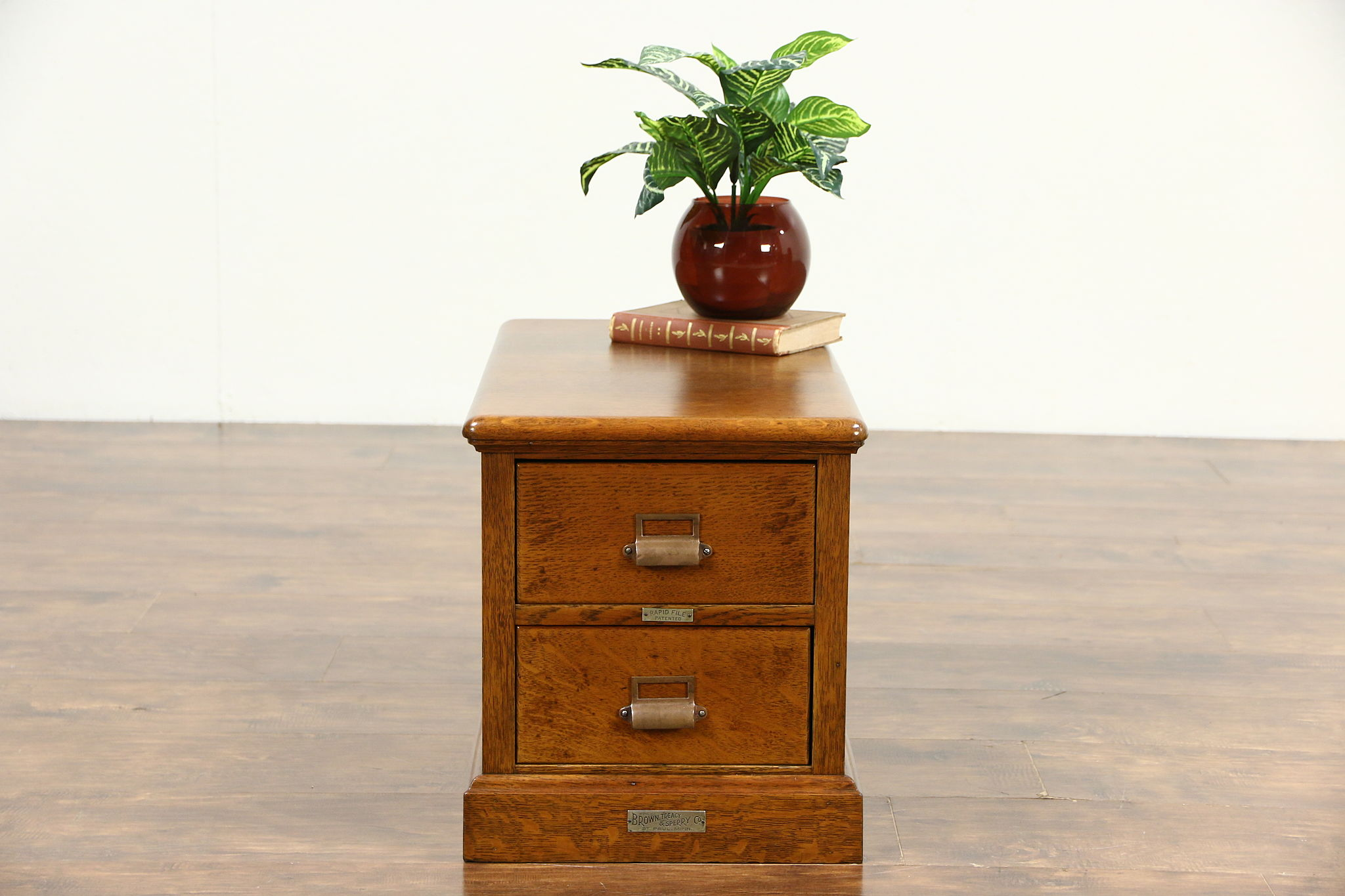Picture of: Sold Oak Small Antique 2 Drawer File Cabinet Pat Brown Of St Paul Harp Gallery Antiques Furniture