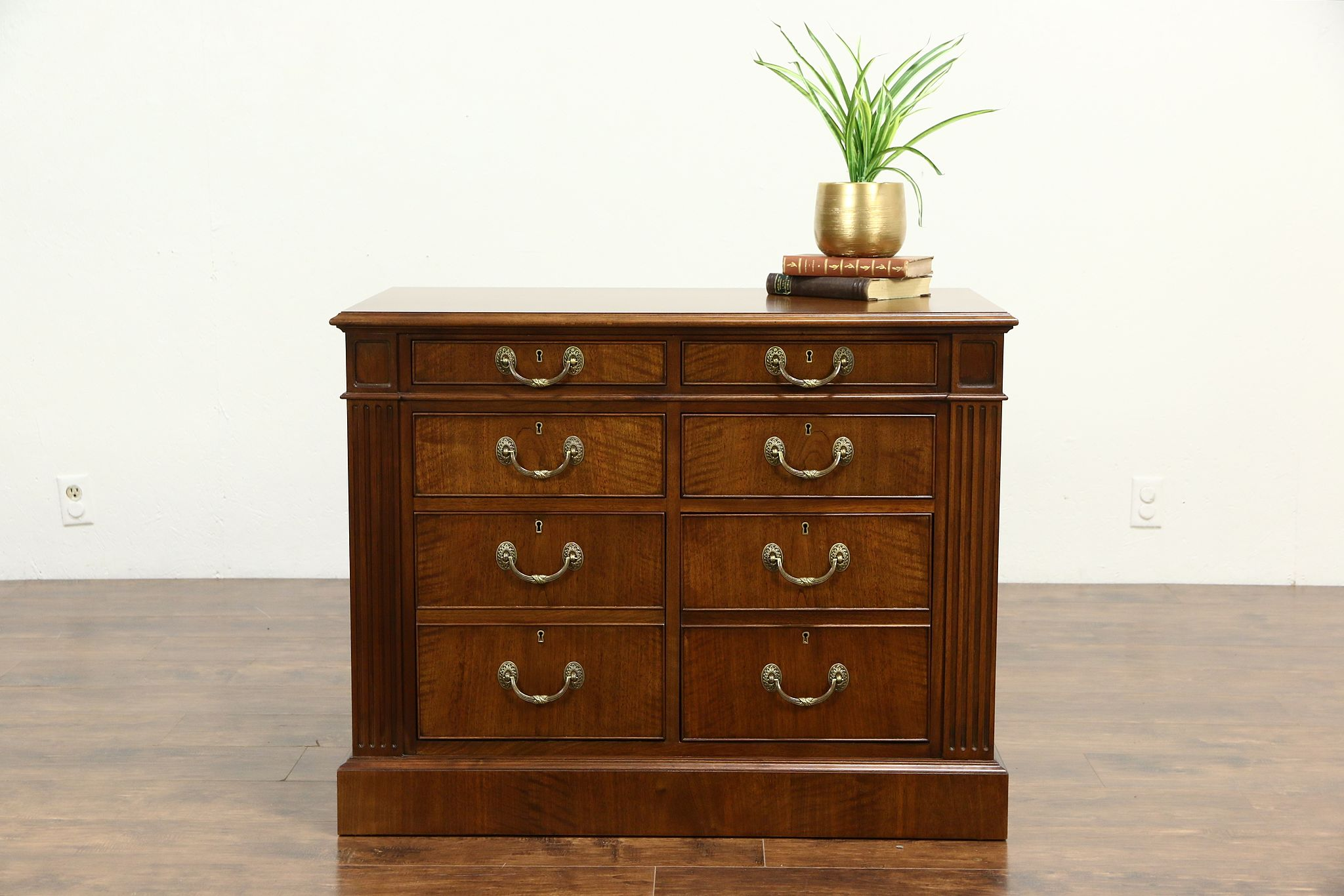 Custom 6 Drawer Lateral Walnut Executive Vintage Office File ...