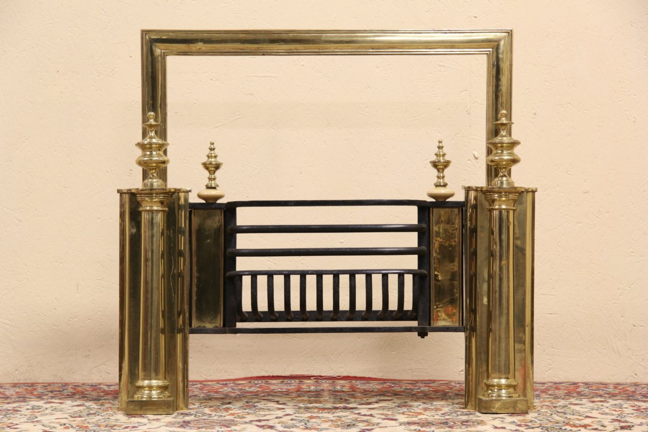 sold english brass 1900 antique fireplace insert u0026 basket harp
