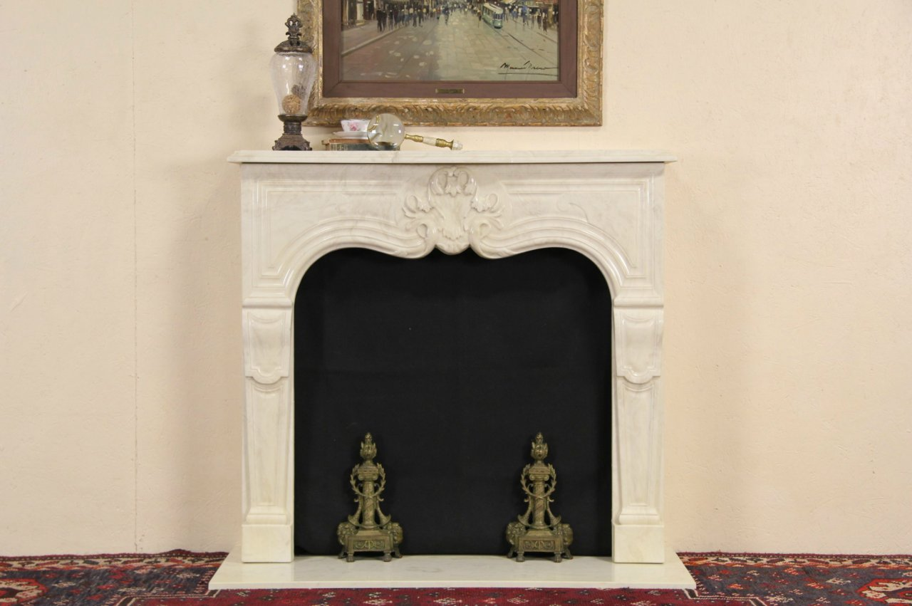 Sold Cultured Travertine Marble Vintage Fireplace Mantel