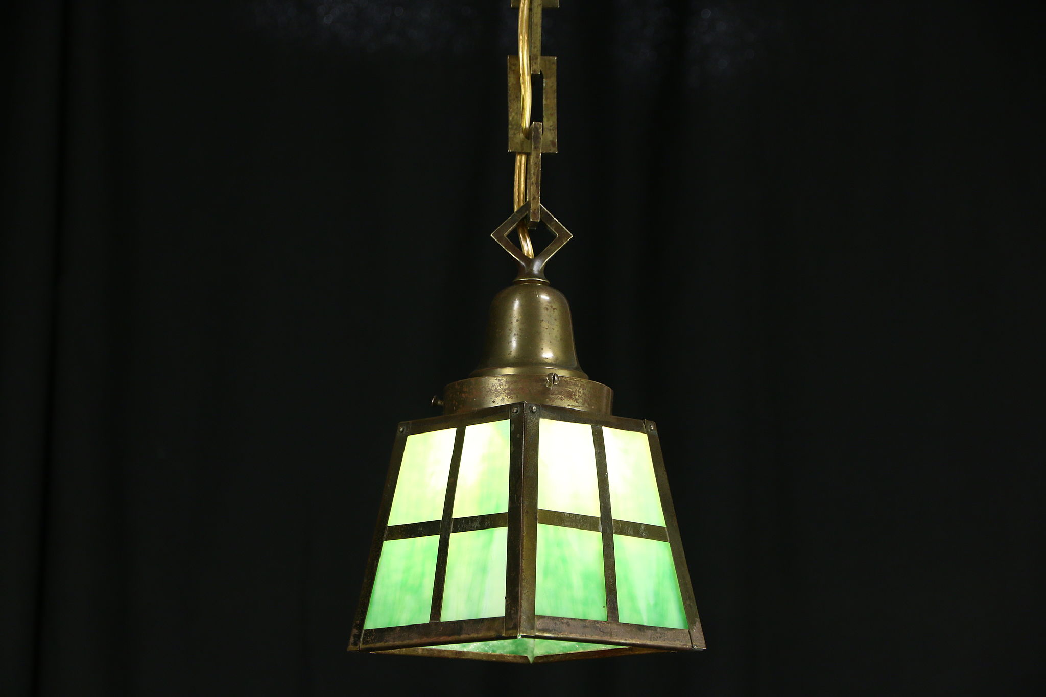 Arts and crafts light fixtures - Arts Crafts Mission 1905 Antique Stained Glass Craftsman Hall Light Fixture