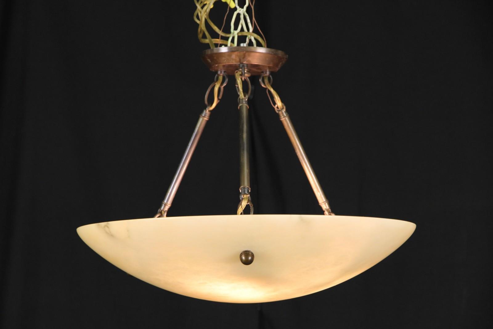 """SOLD - Alabaster 19"""" Dome Vintage Ceiling Light Fixture ..."""