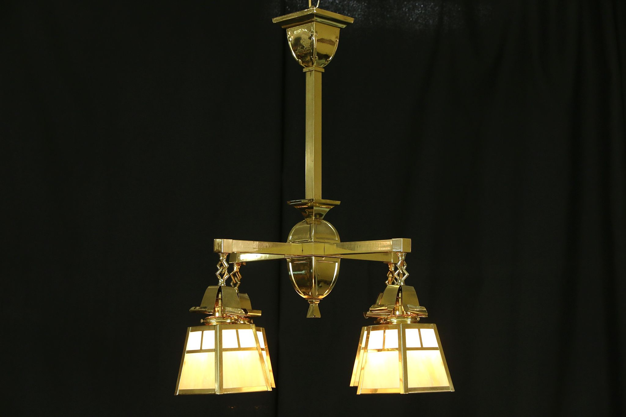 Arts crafts 1910 antique brass chandelier stained glass light fixture