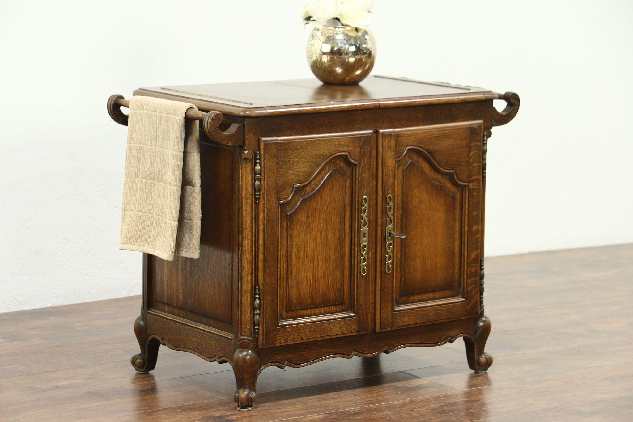 Exceptionnel Oak Carved Antique Flip Top Bar Cabinet, Raised Panels, Mirror Interior, ...