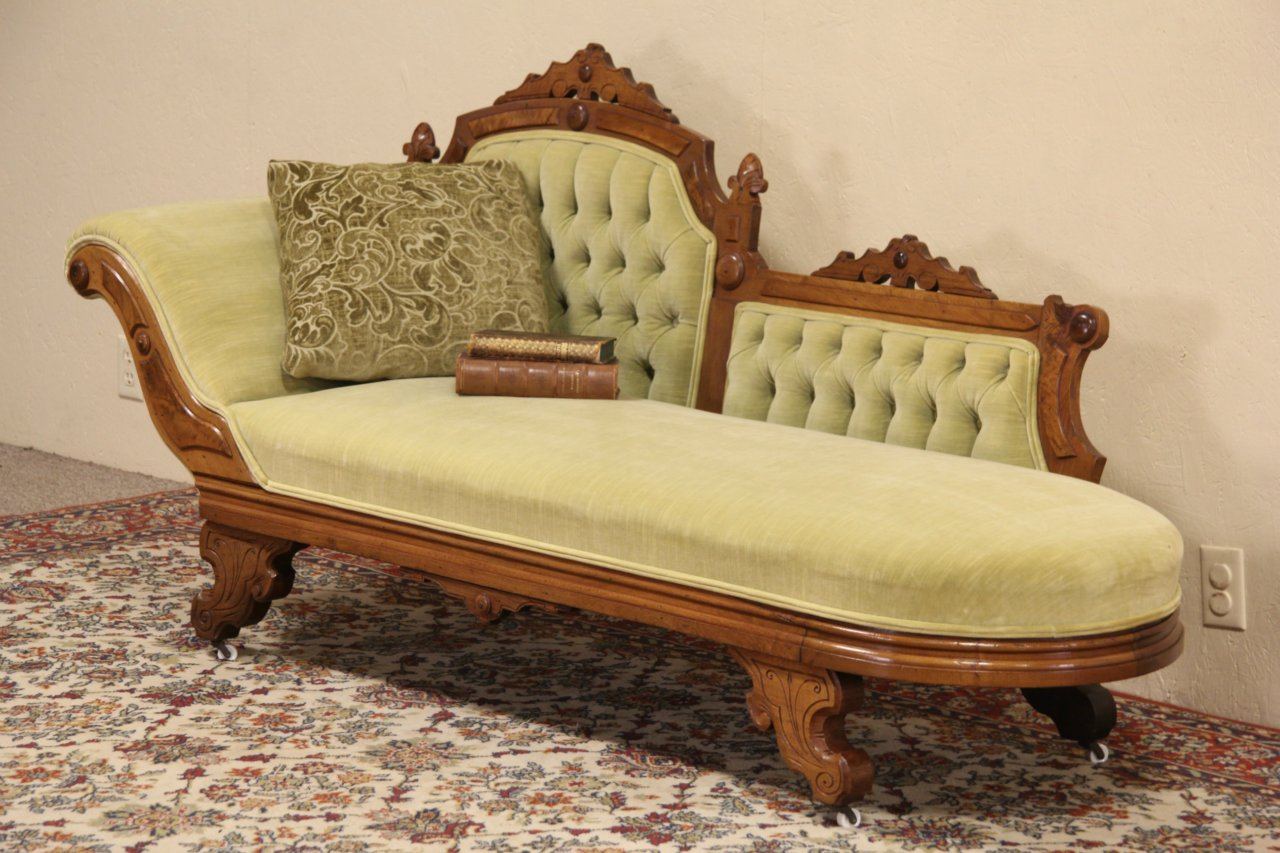 Sold victorian 1875 antique carved fainting couch or for Antique fainting couch chaise