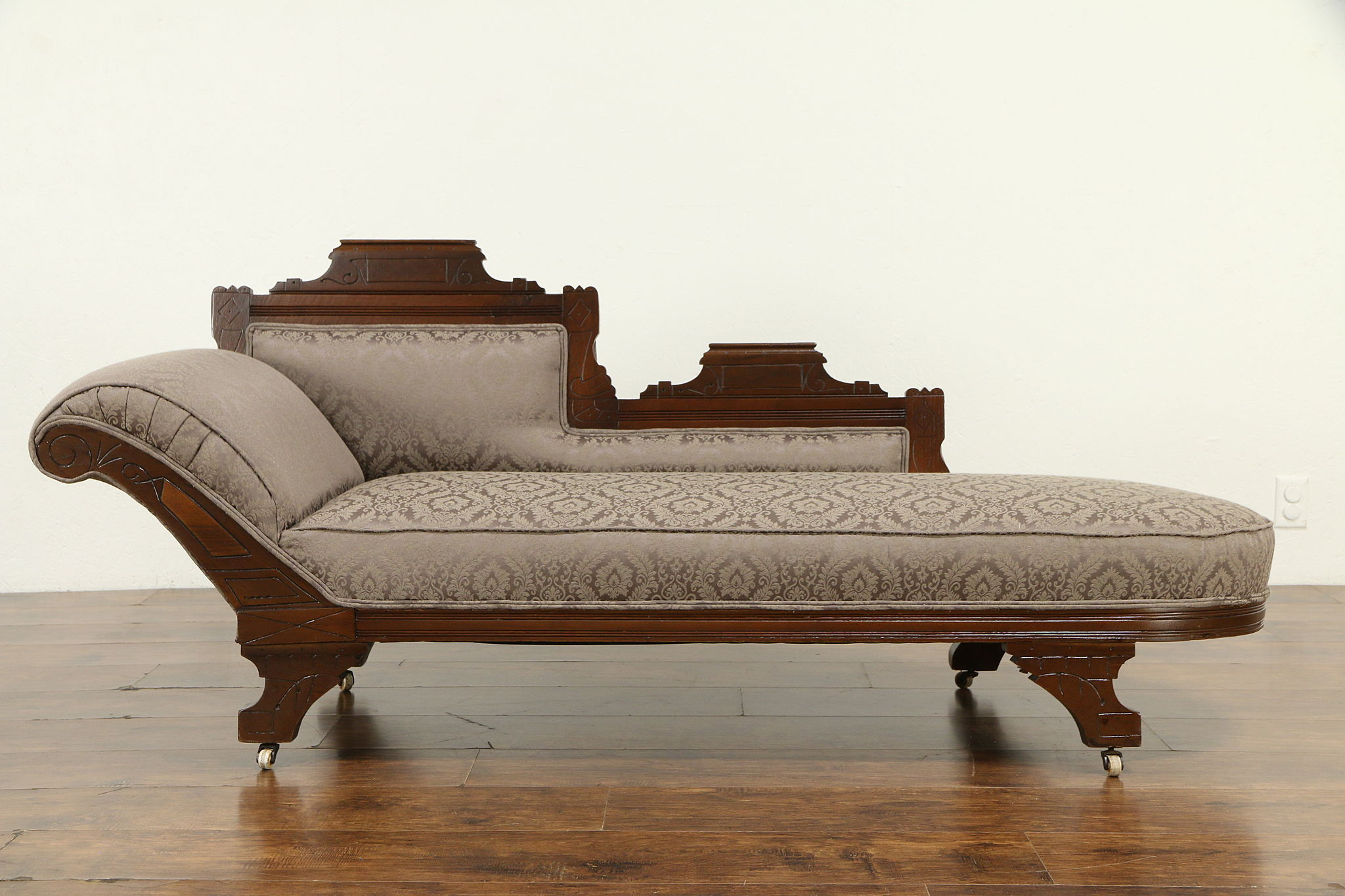 Chaise Style Art Nouveau victorian eastlake antique fainting couch, chaise lounge, new upholstery  #32081