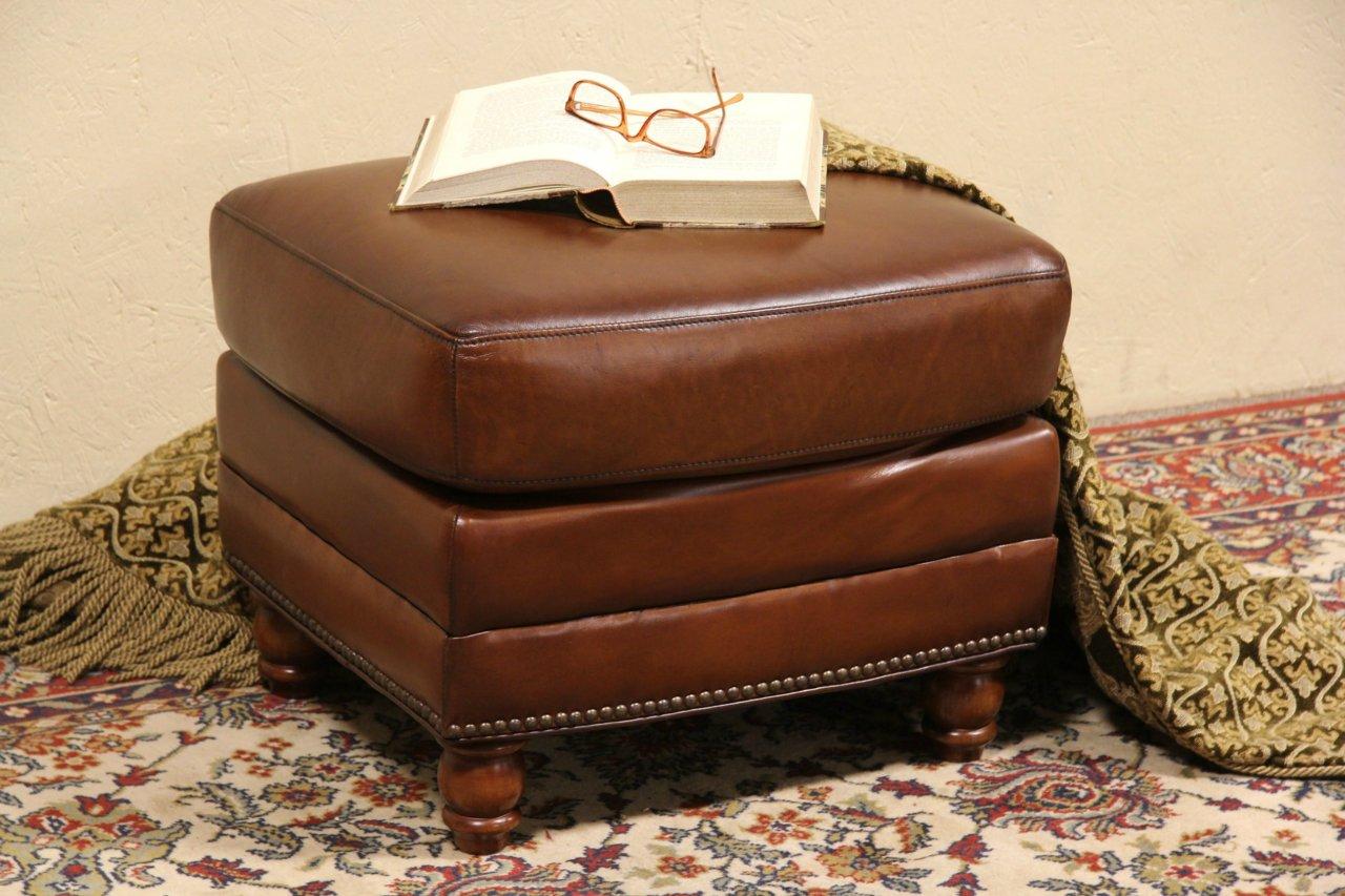Chestnut Leather Ottoman Or Footstool, Secret Stash Pocket ...