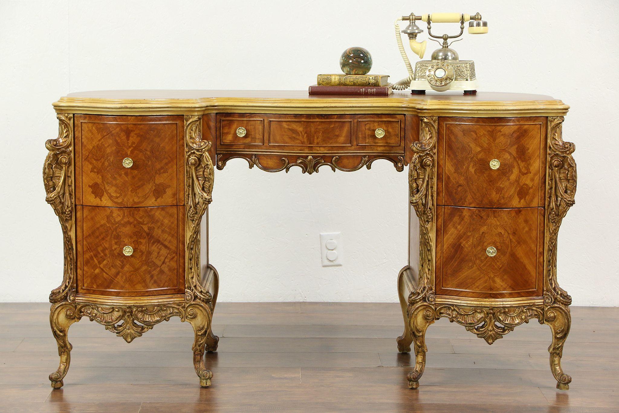 Satinwood Marquetry 1930 S Vintage Desk Dressing Table Or Vanity
