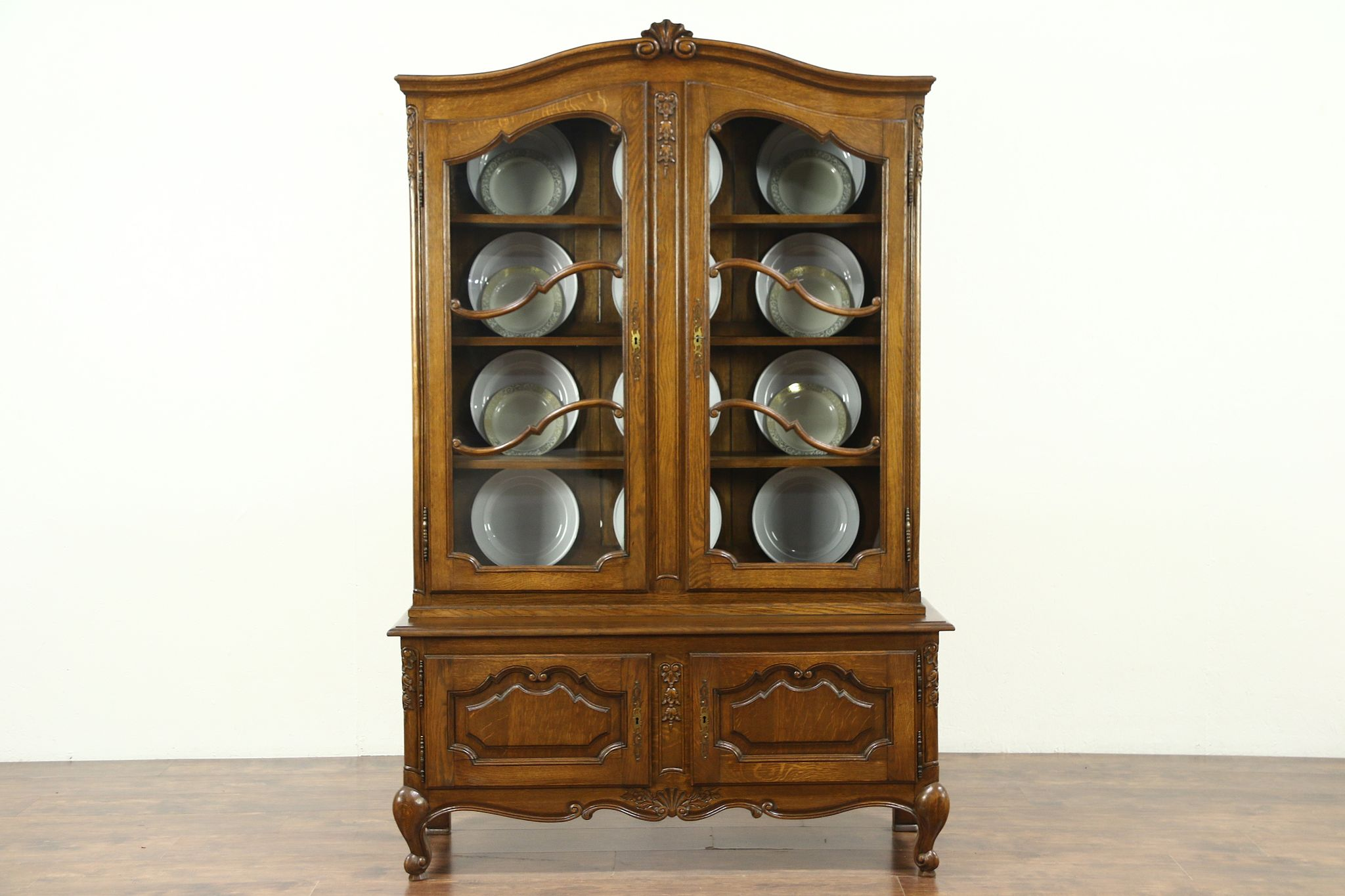 Sold Country French 1930 S Vintage Carved Oak China Cabinet Raised Panels 28810 Harp Gallery