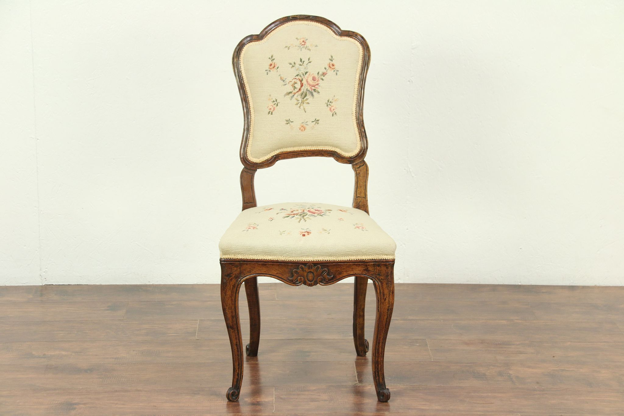 Picture of: Sold Country French Antique 1790 Beech Side Or Desk Chair Needlepoint 28974 Harp Gallery Antiques Furniture
