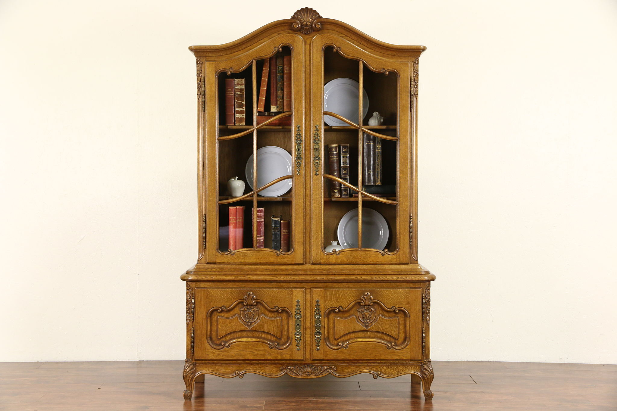 Sold Country French Carved Oak 1940 S Bookcase Or China Cabinet Harp Gallery