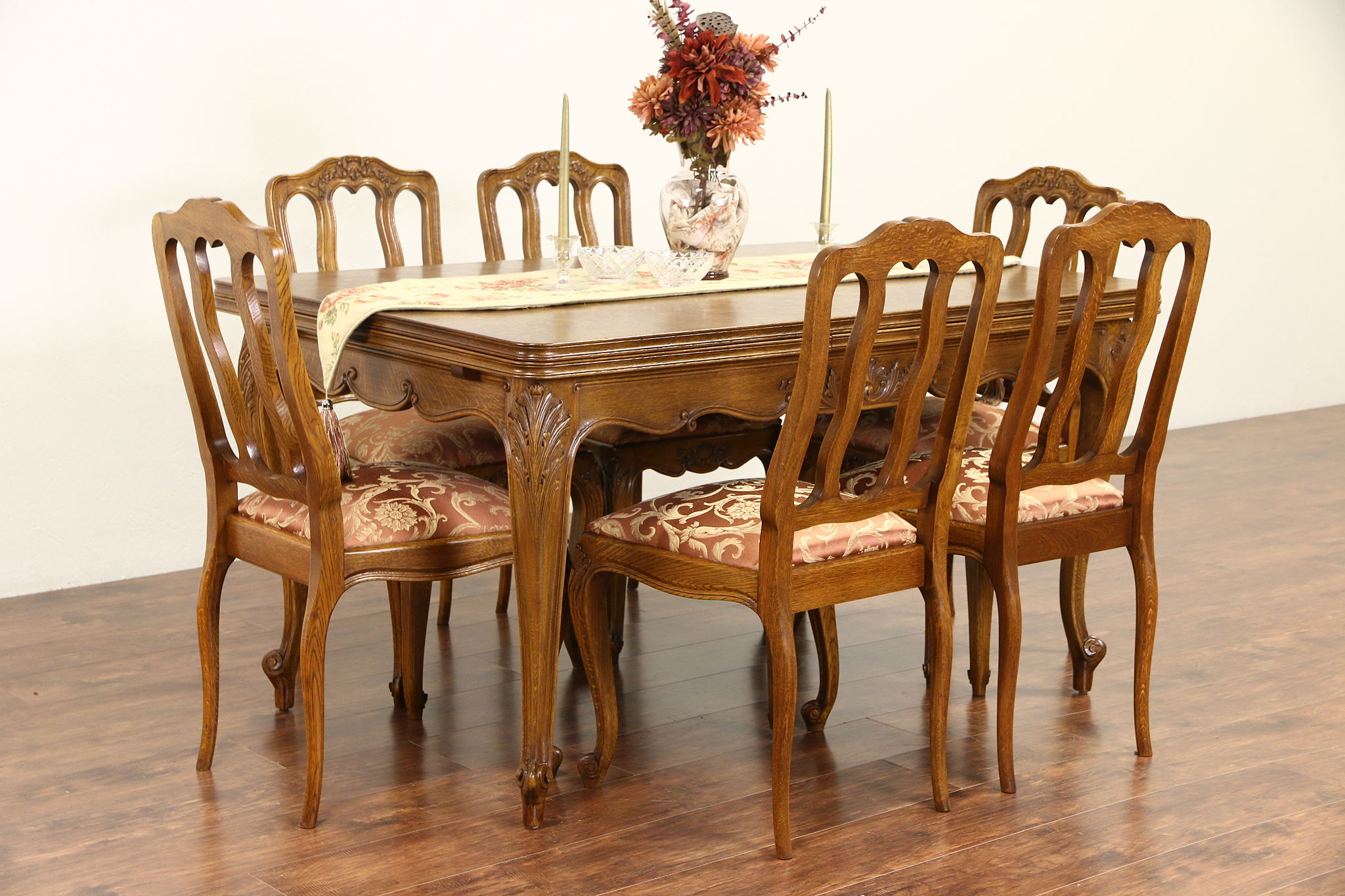 Country French Carved Oak 1940u0027s Dining Set, Table 2 Leaves, 6 Chairs