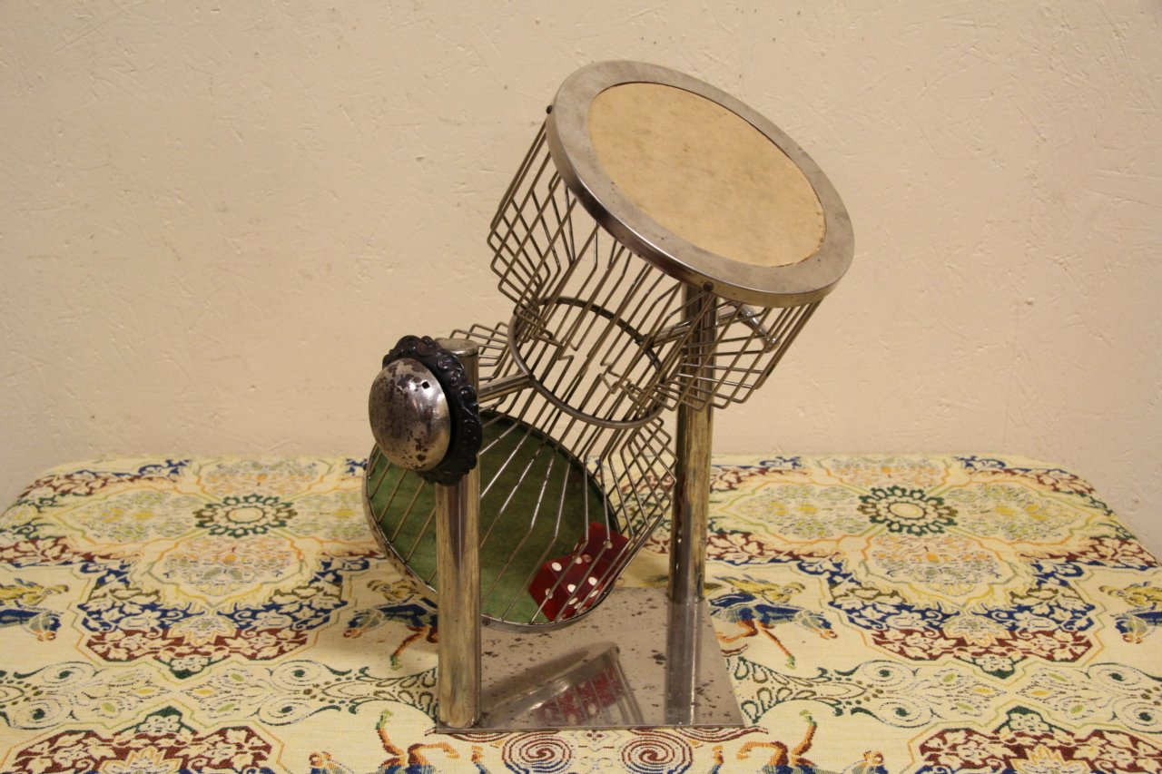 Sold Chuck A Luck Vintage Dice Shaker Cage Gambling Game
