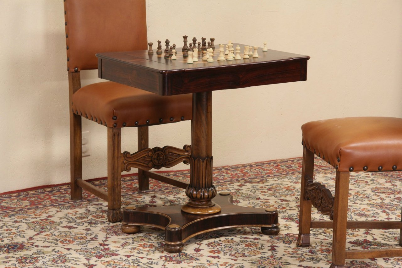 English Rosewood 1860u0027s Antique Game Table, Chess, Backgammon U0026 Checkers ...
