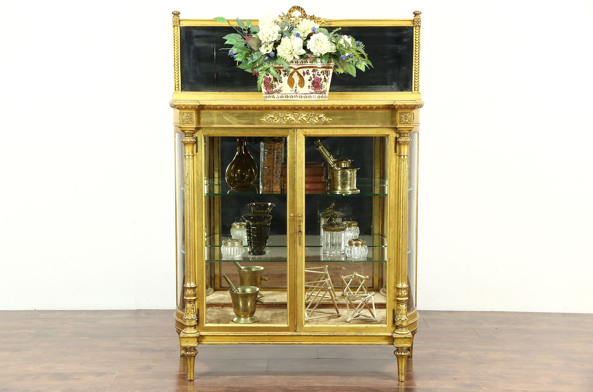 Gold Leaf 1880 Antique French Louis XIV Curved Glass Curio China Display  Cabinet ...