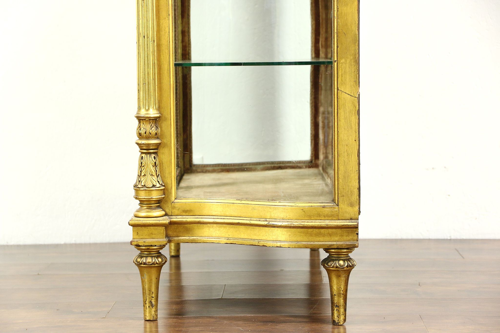 Gold Leaf 1880 Antique French Louis XIV Curved Glass Curio China