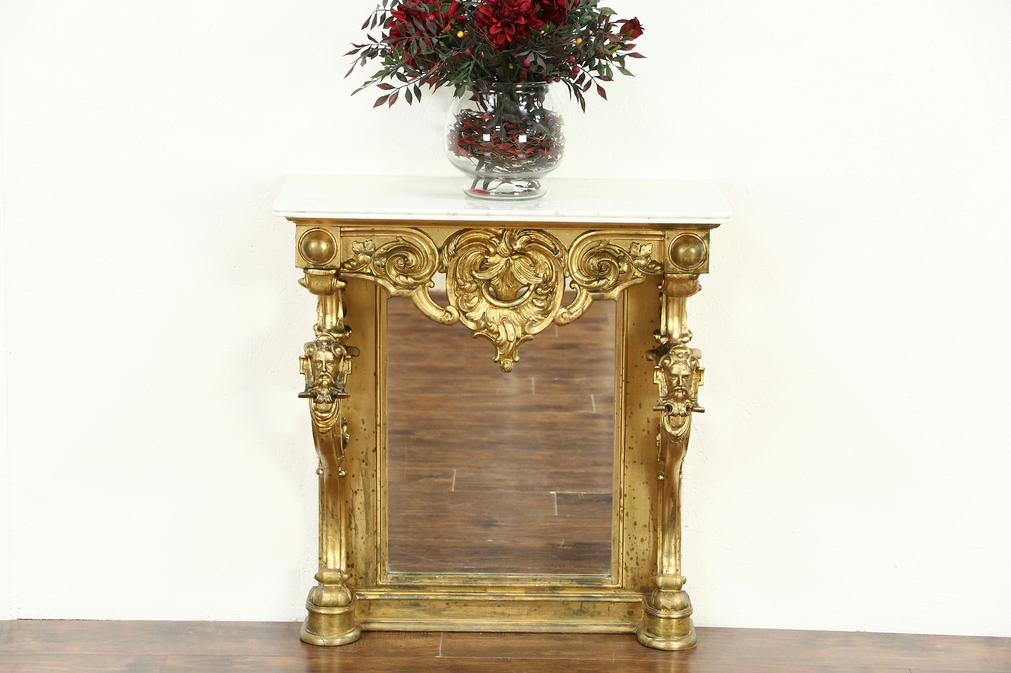 Victorian 1850 Antique Gold Hall Console Or Petticoat Table, Hand Carved  Heads ...
