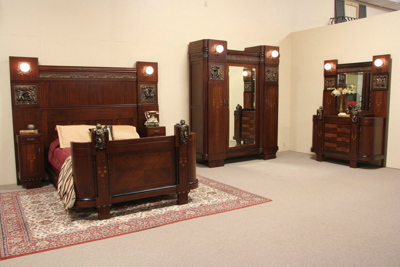 Sold Italian 1915 Antique Queen Size Bedroom Set Marble Bronze