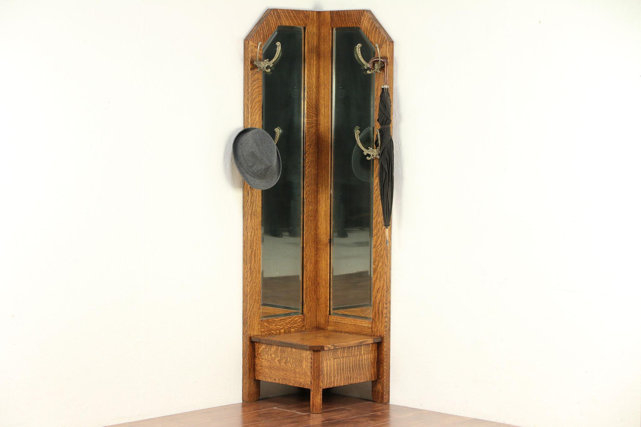 Sold Arts Crafts Mission Oak Antique Craftsman Corner Hall Stand Mirror 29766 Harp Gallery Antiques Furniture