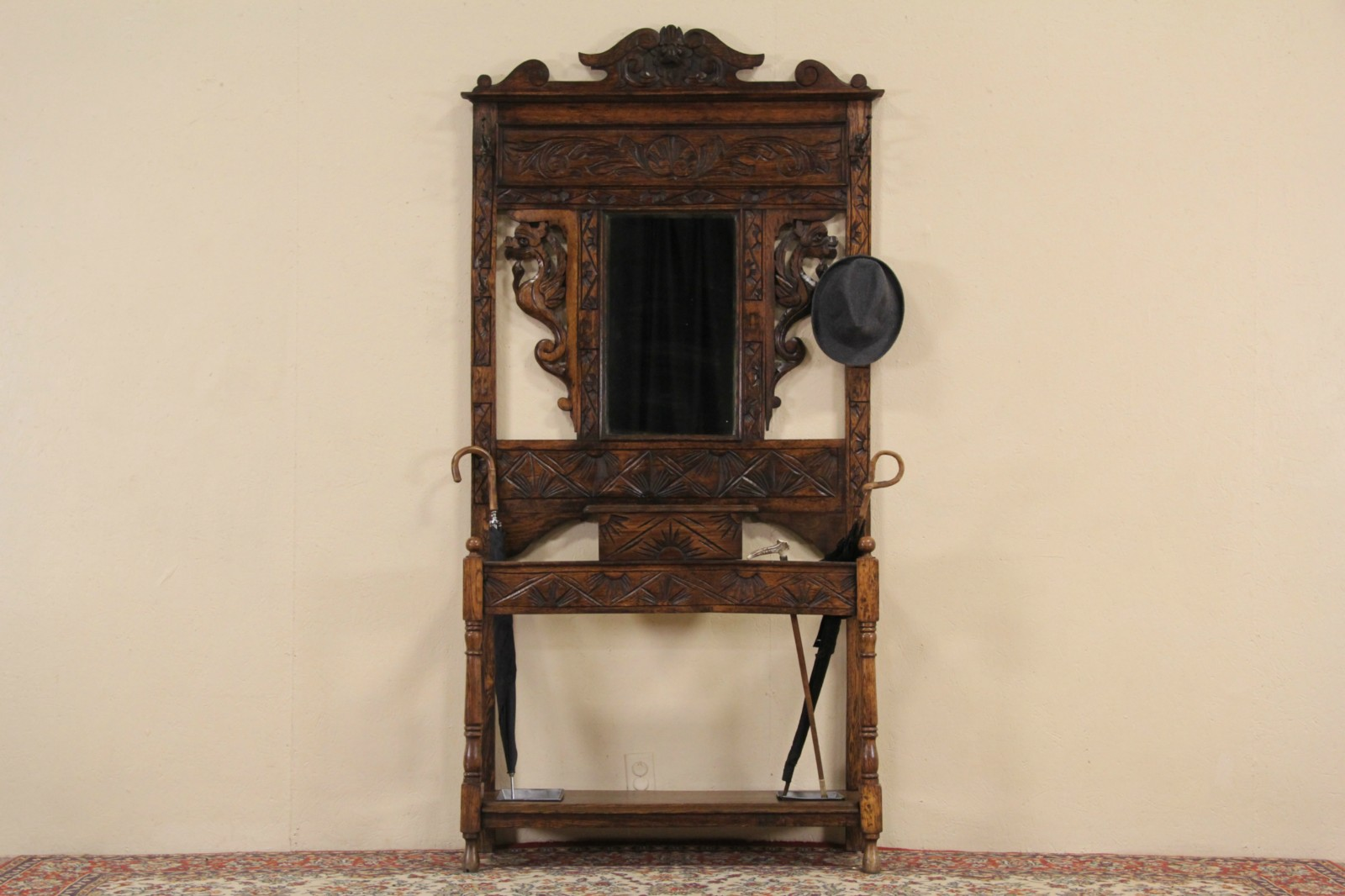 Sold English Carved Oak 1900 Antique Hall Stand Mirror Umbrella