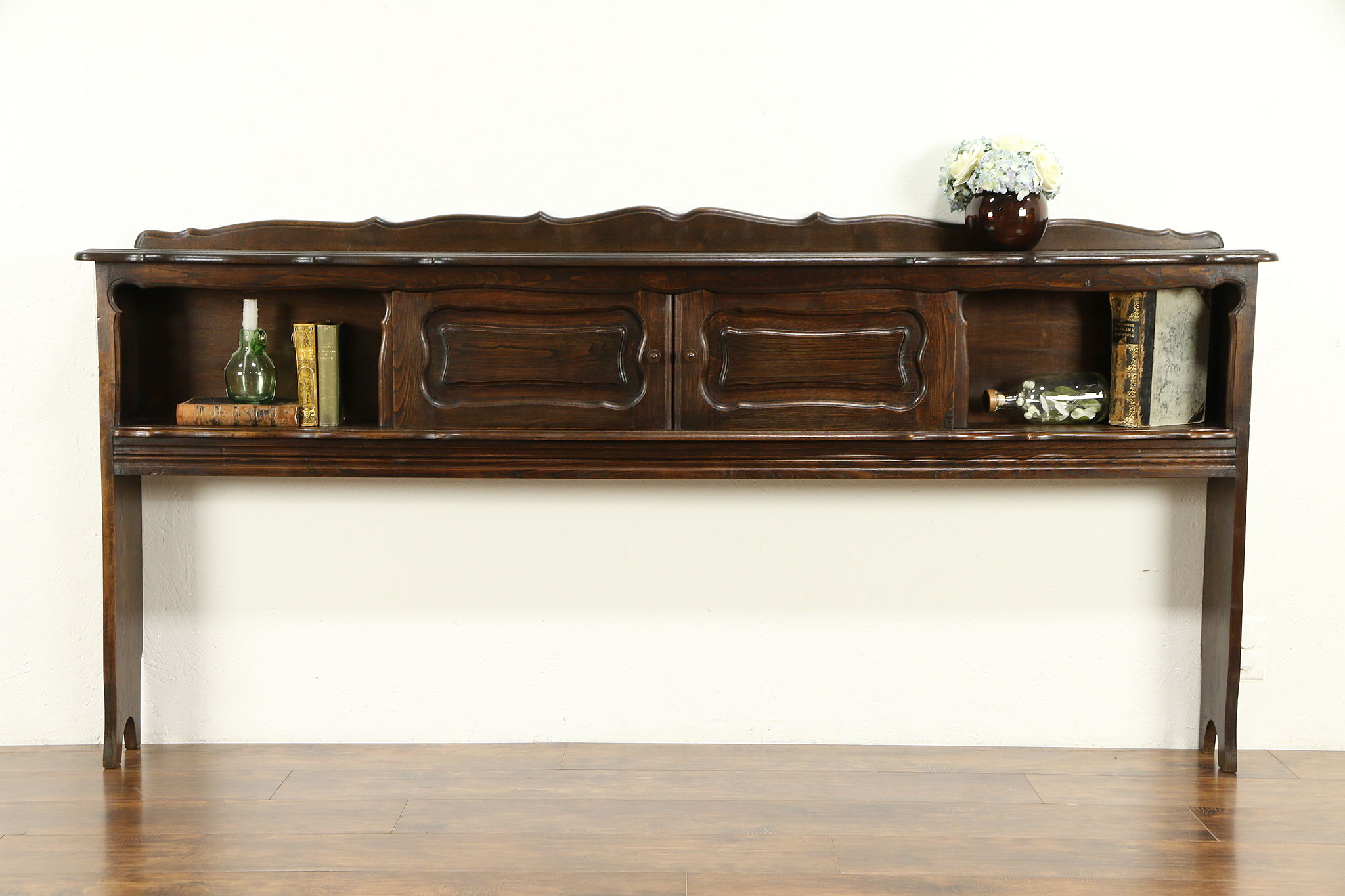 Country French Antique King Size Chestnut Bookcase Headboard 32210