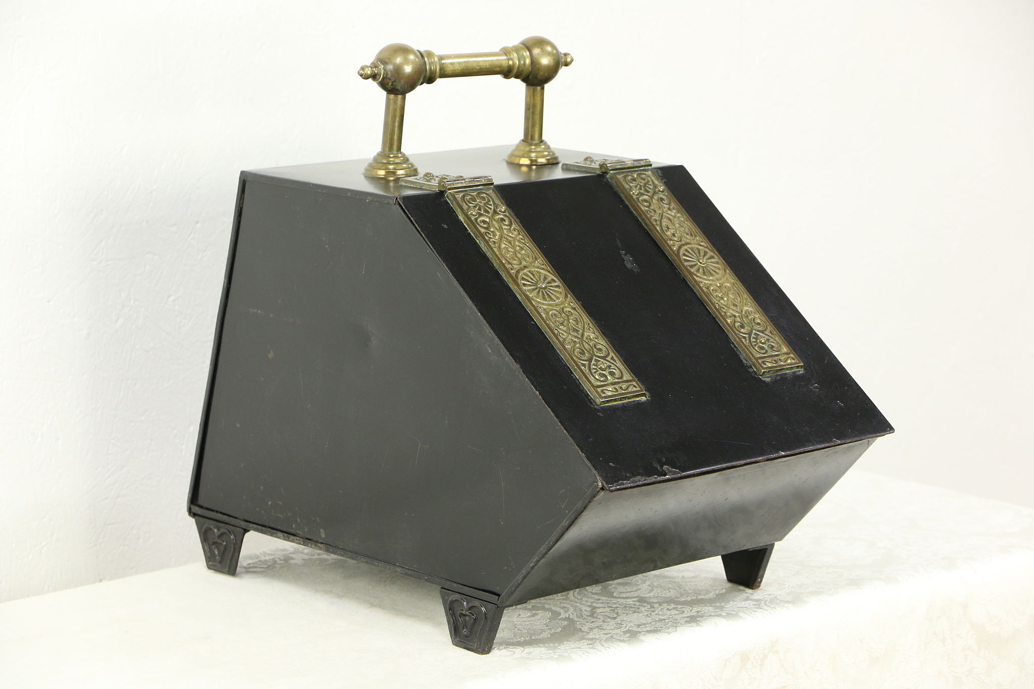 Victorian 1880 Antique Iron U0026 Brass Fireplace Coal Hod Or Caddy, ...