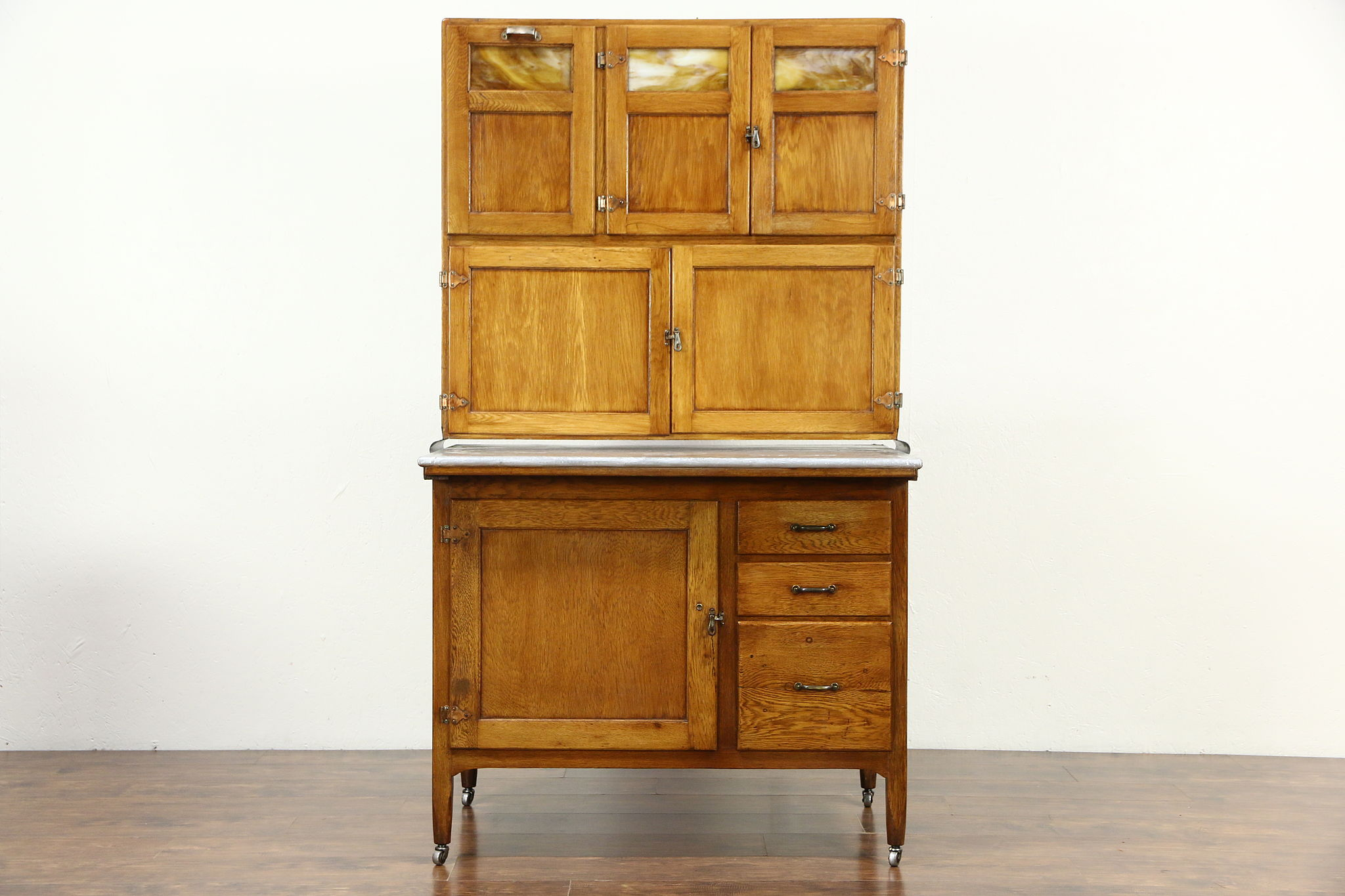 Sold Hoosier Oak Antique Kitchen Pantry Cupboard Zinc Top Stained Glass Doors Harp Gallery Antiques Furniture