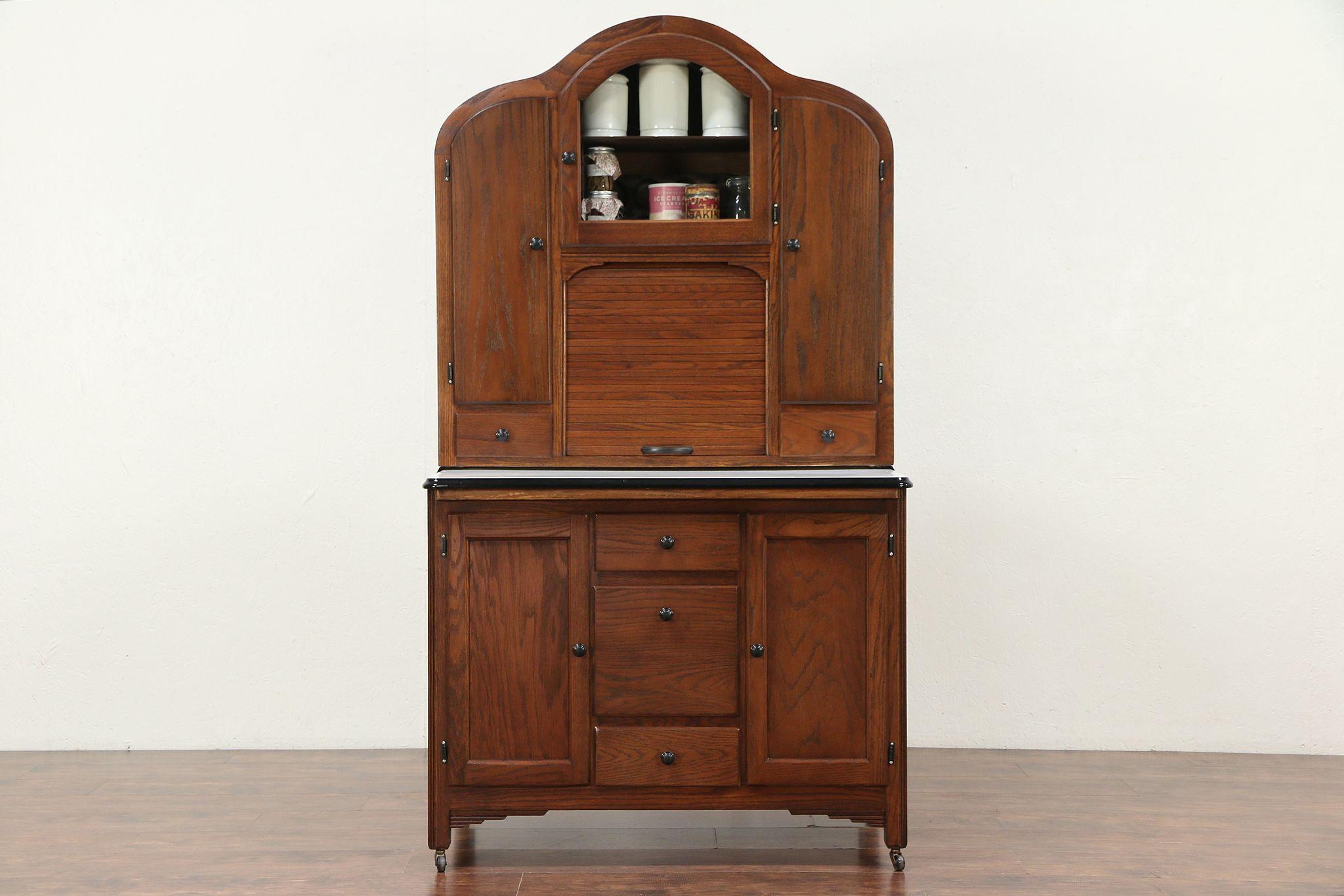 Art Deco Hoosier Oak Cabinet Kitchen Pantry Roll Top Cupboard, Goldberg  #29487