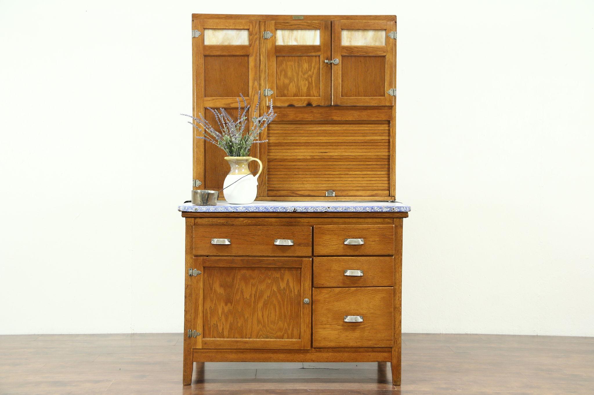 Oak Hoosier Antique Kitchen Pantry Cupboard Stained Gl Sifter Roll Wilson Photo