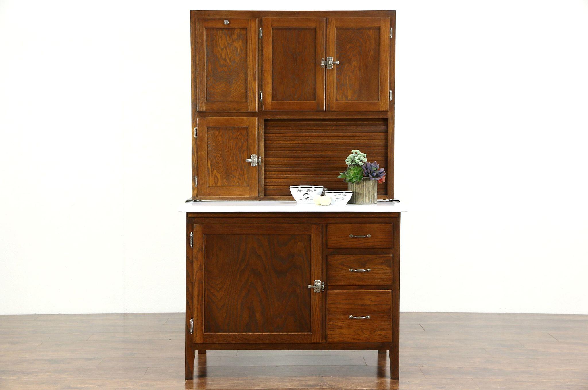 hoosier oak 1915 antique kitchen pantry cupboard sifter  u0026 roll top     sold   hoosier oak 1915 antique kitchen pantry cupboard sifter      rh   harpgallery com