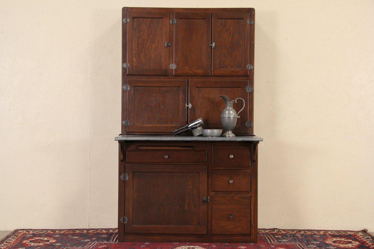 Hoosier 1910 Patent Oak Kitchen Cabinet, Original