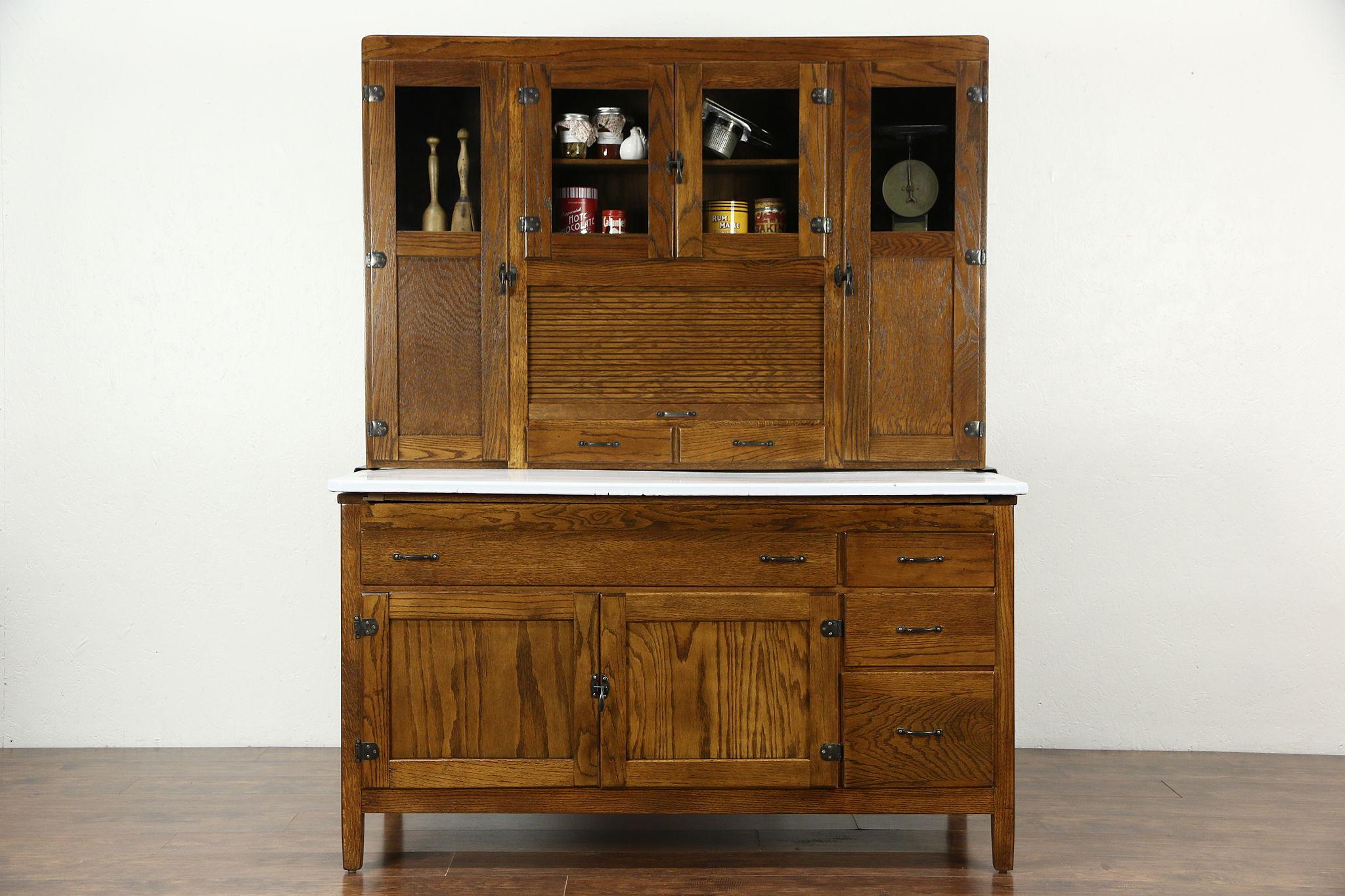 Sold Hoosier Oak Kitchen Pantry Cupboard Roll Top 1915 Antique Cabinet Enamel Top Harp