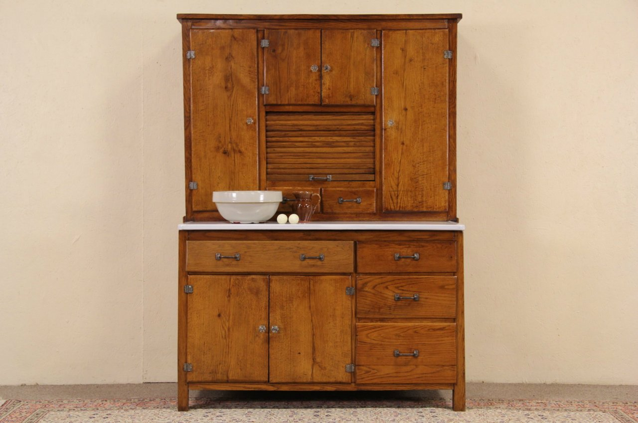 Hoosier Style Cupboard 1900 Oak Kitchen Cabinet, Porcelain Top