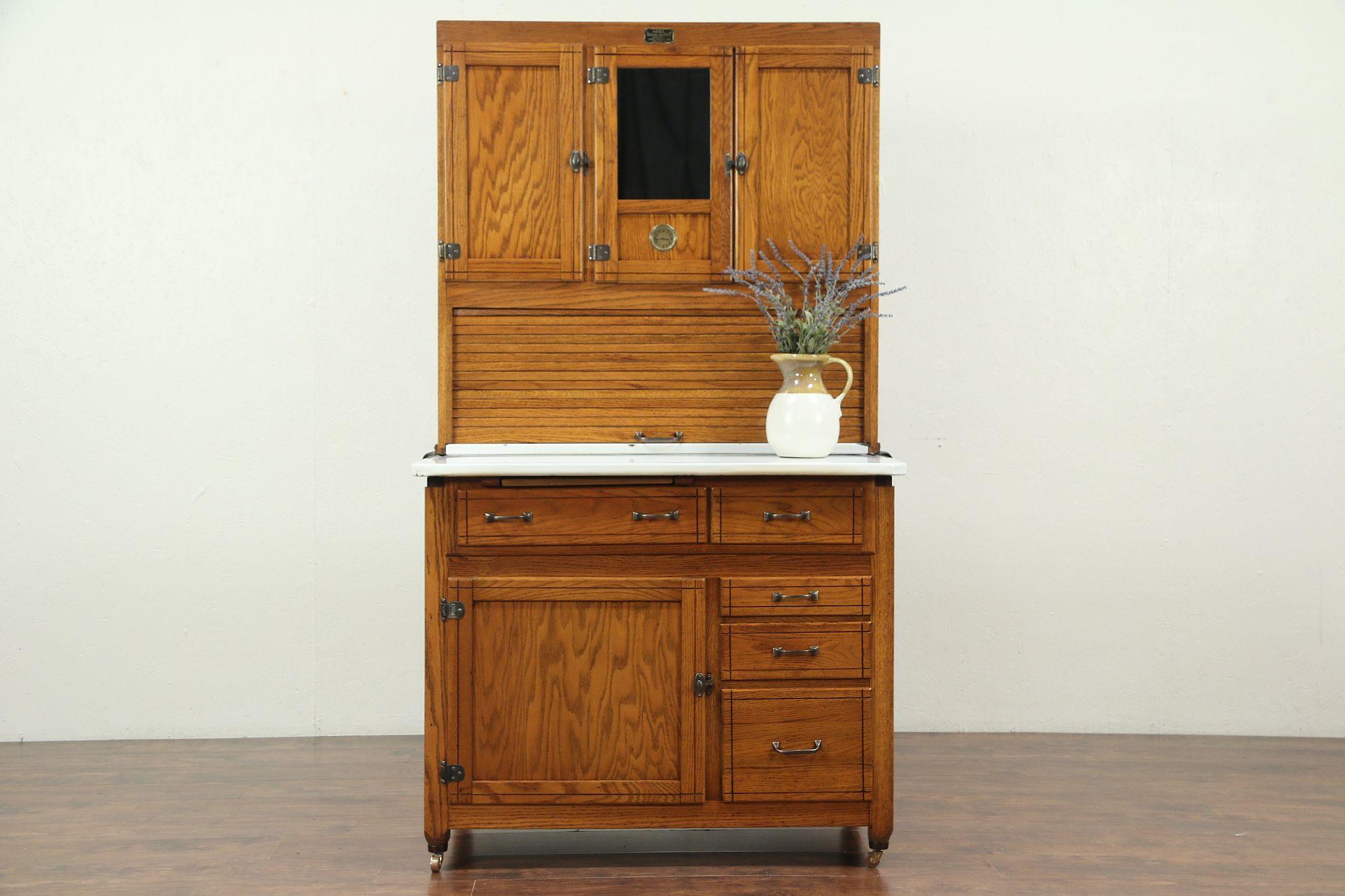 Hoosier Oak Roll Top Antique Kitchen Pantry Cupboard, Signed Ariel of IN  #29184
